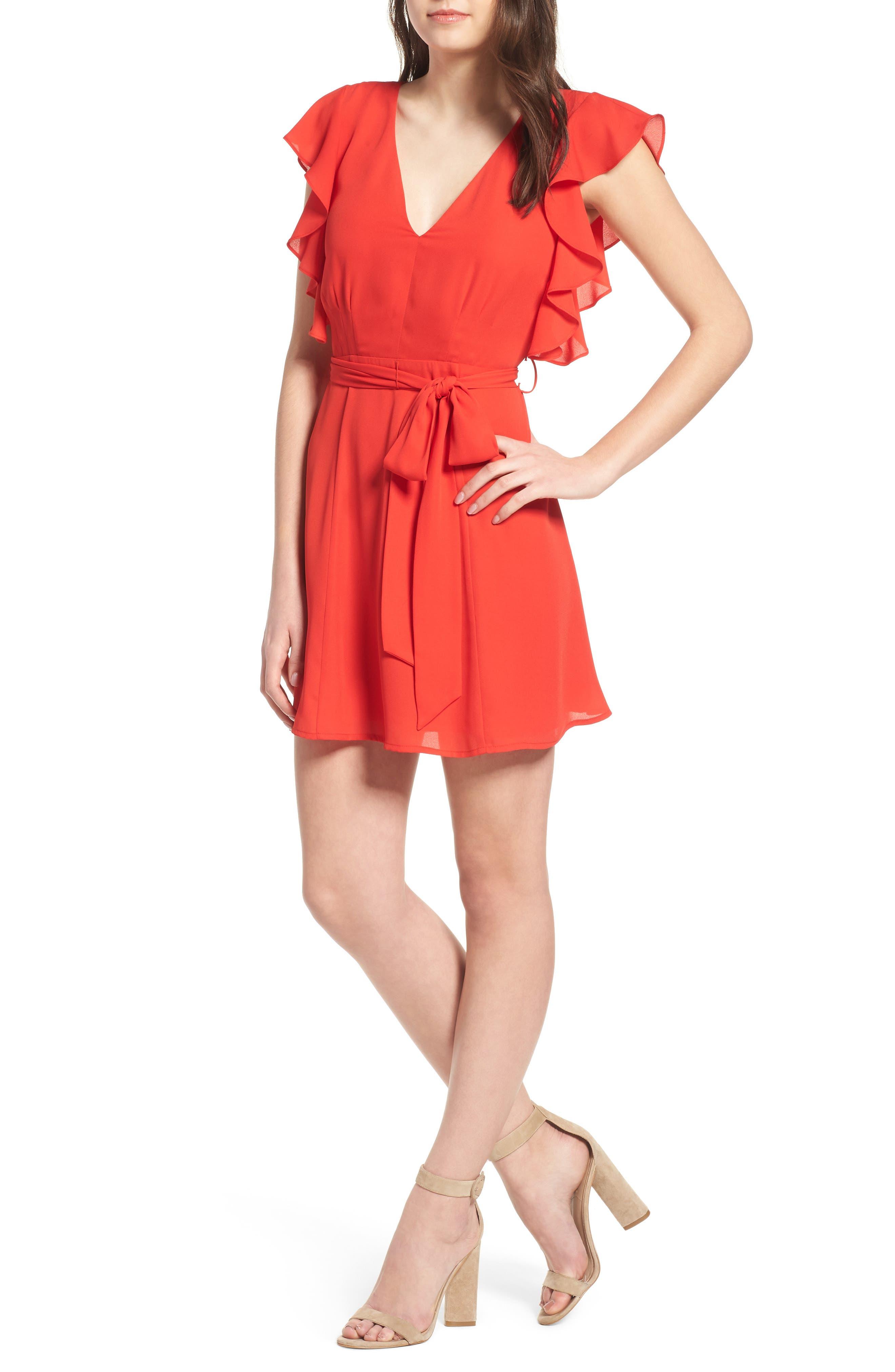 Ruffle Sleeve Dress,                             Main thumbnail 2, color,