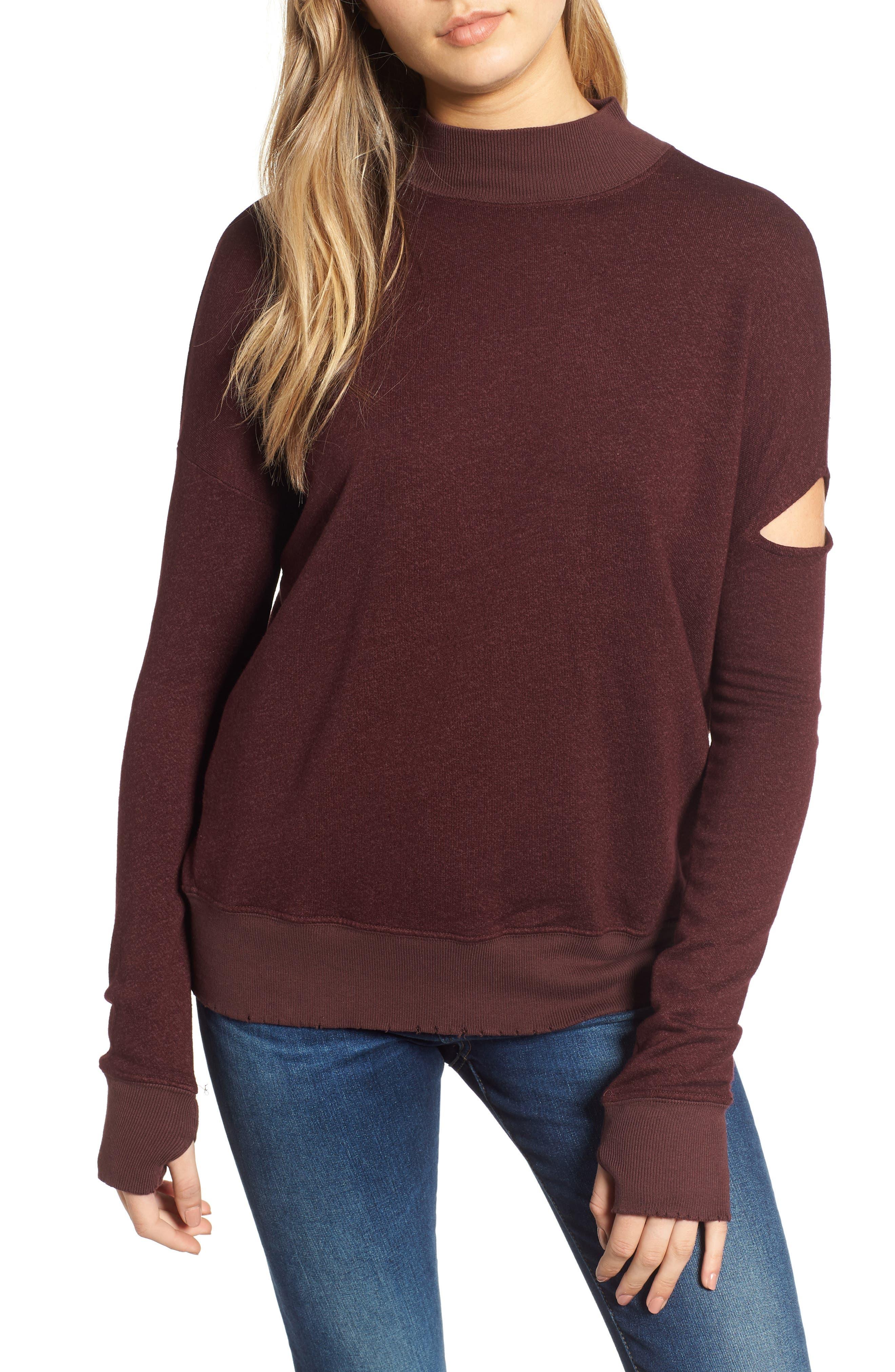 Sedro Arm Cutout Sweatshirt,                         Main,                         color, WINETASTING