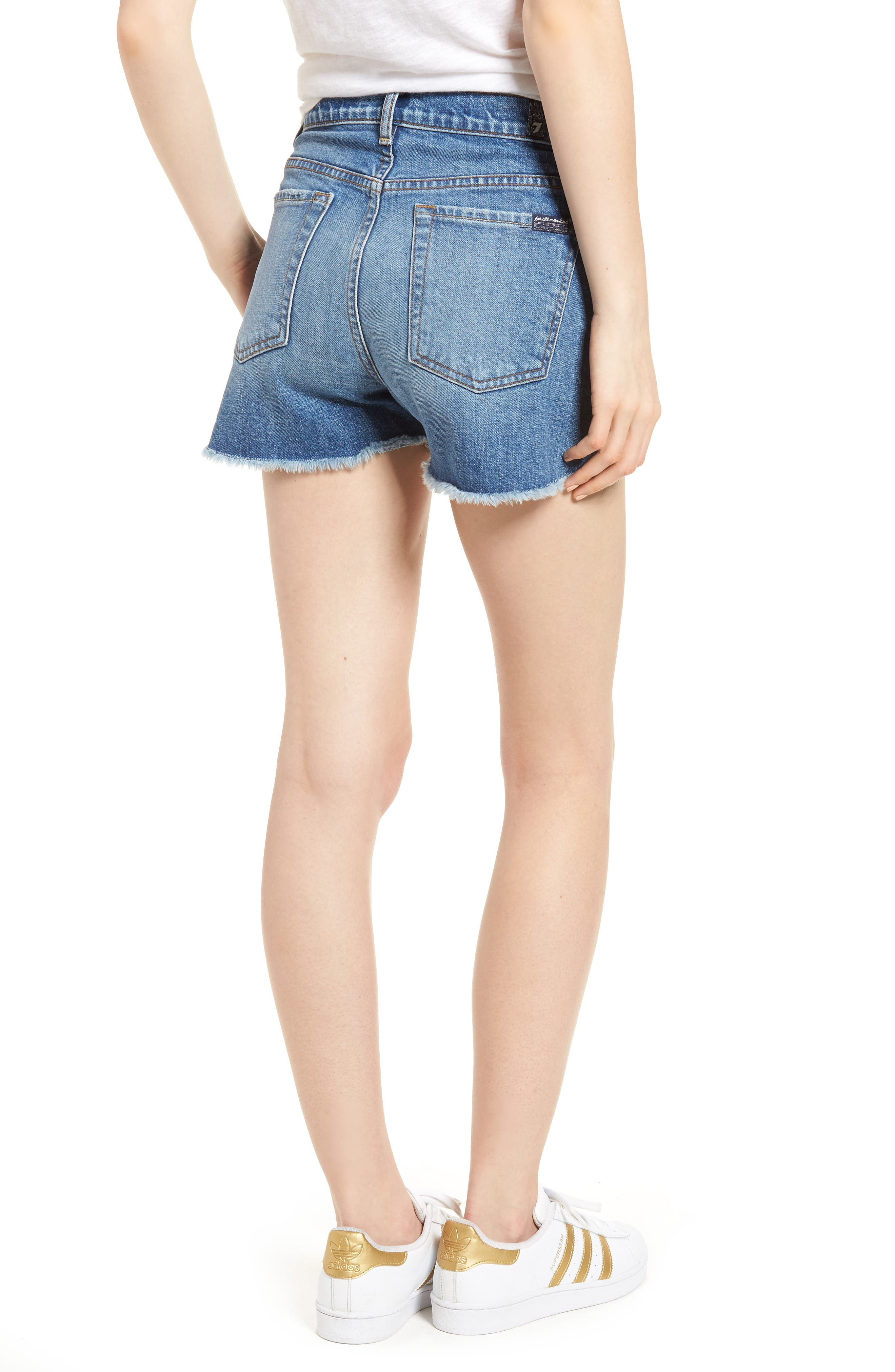 Cutoff Step Hem Denim Shorts,                             Alternate thumbnail 2, color,                             401