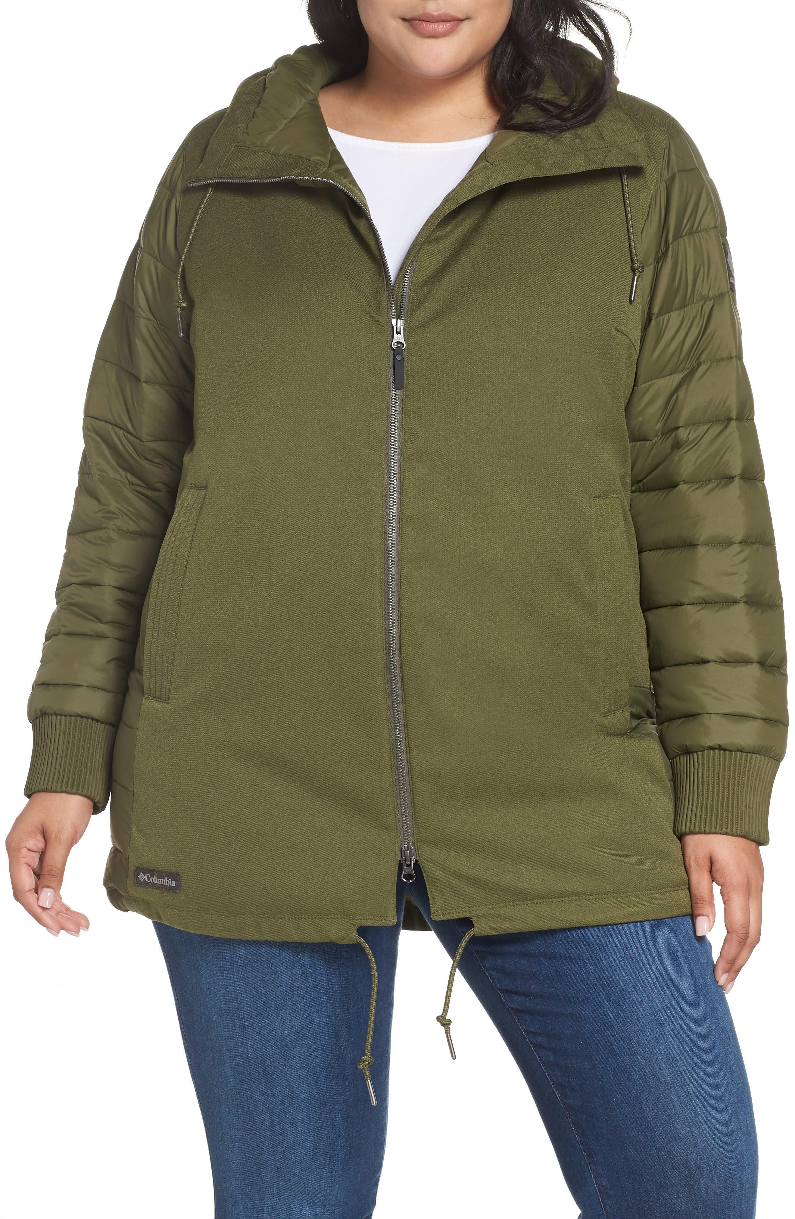 Plus Size Columbia Boundary Bay Waterproof Hybrid Jacket, Green