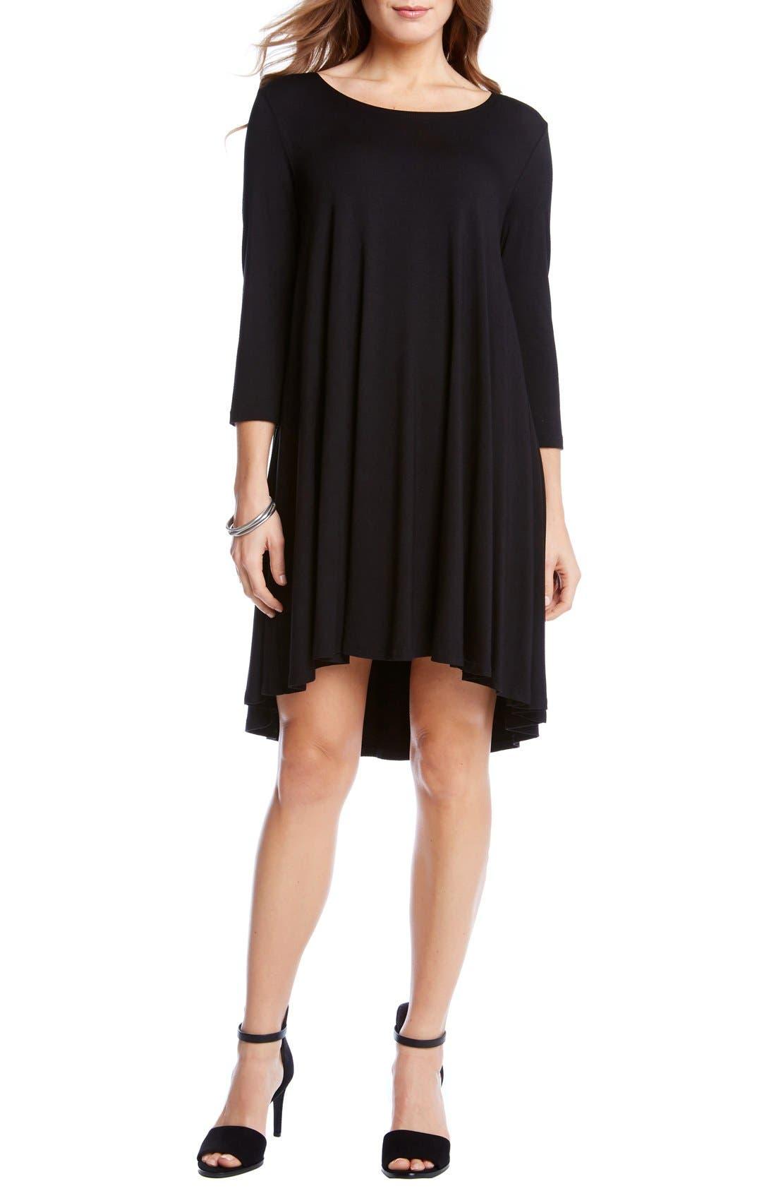 'Maggie' Three Quarter Sleeve Trapeze Dress,                             Alternate thumbnail 2, color,                             001