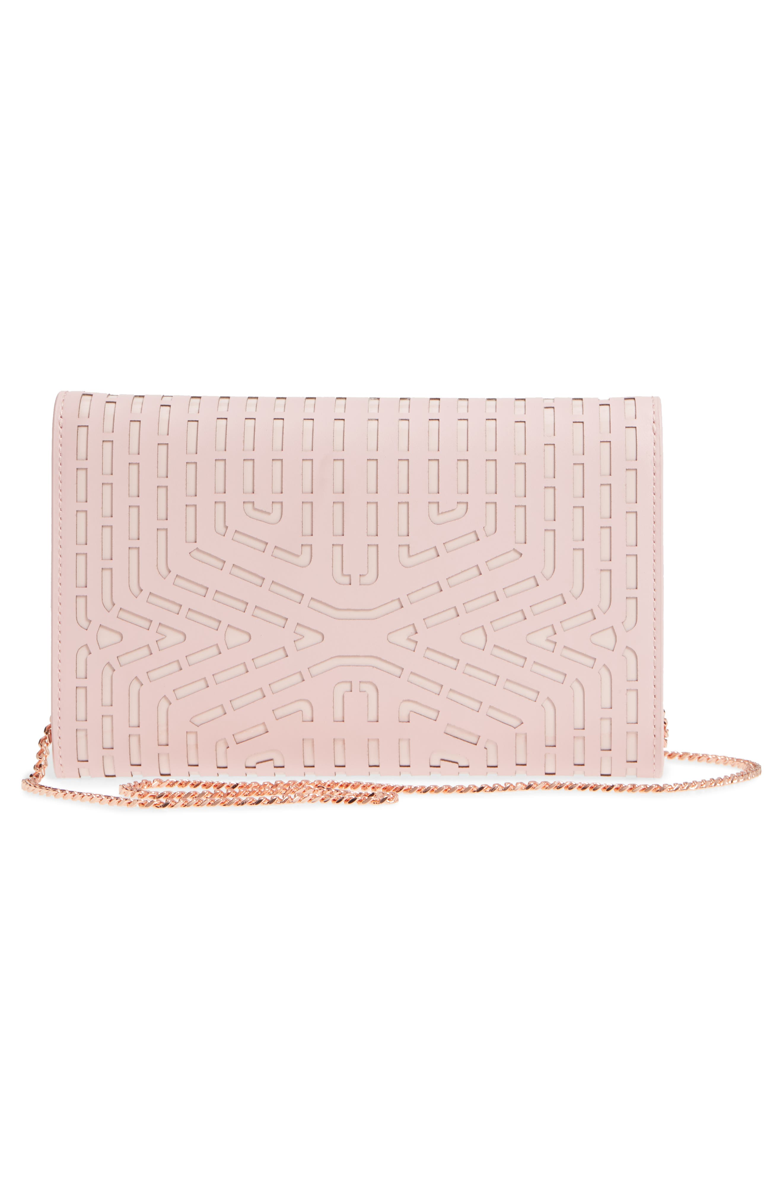 Bree Laser Cut Bow Leather Clutch,                             Alternate thumbnail 10, color,