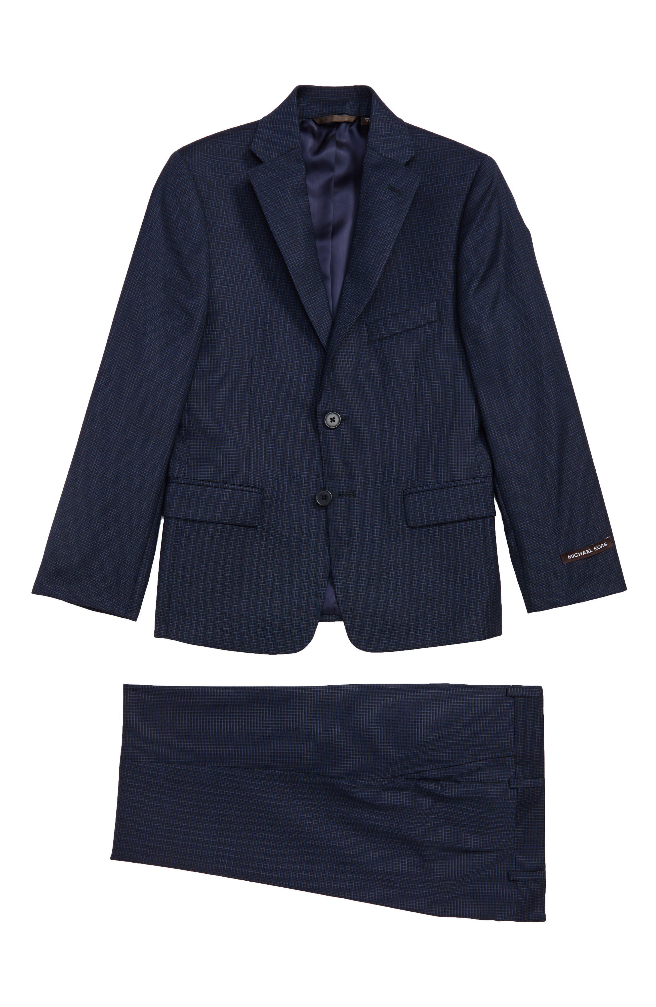 Mini Grid Wool Suit,                             Main thumbnail 1, color,                             BLACK/ BLUE