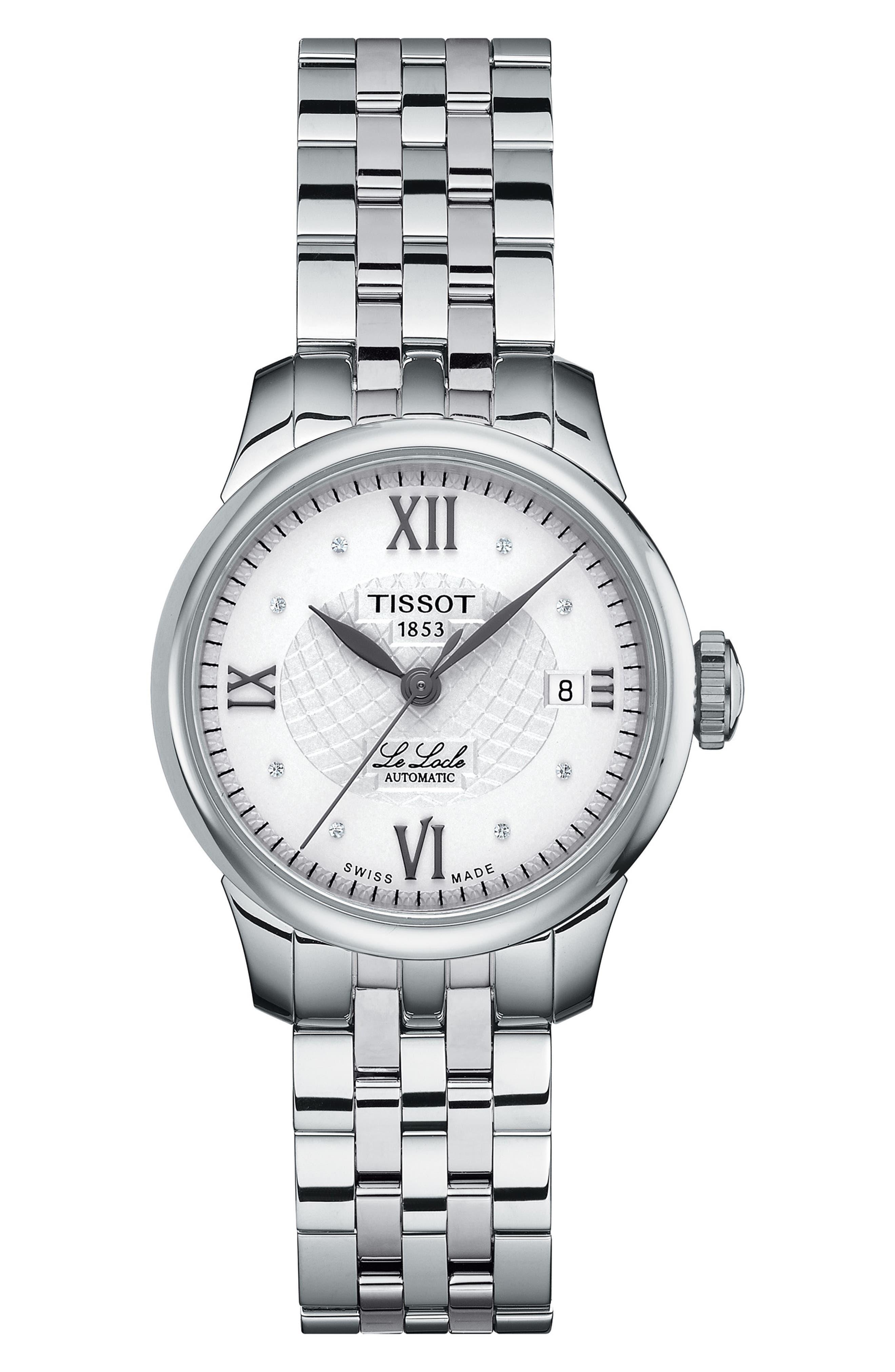 TISSOT,                             Le Locle Automatic Bracelet Watch, 25mm,                             Main thumbnail 1, color,                             SILVER