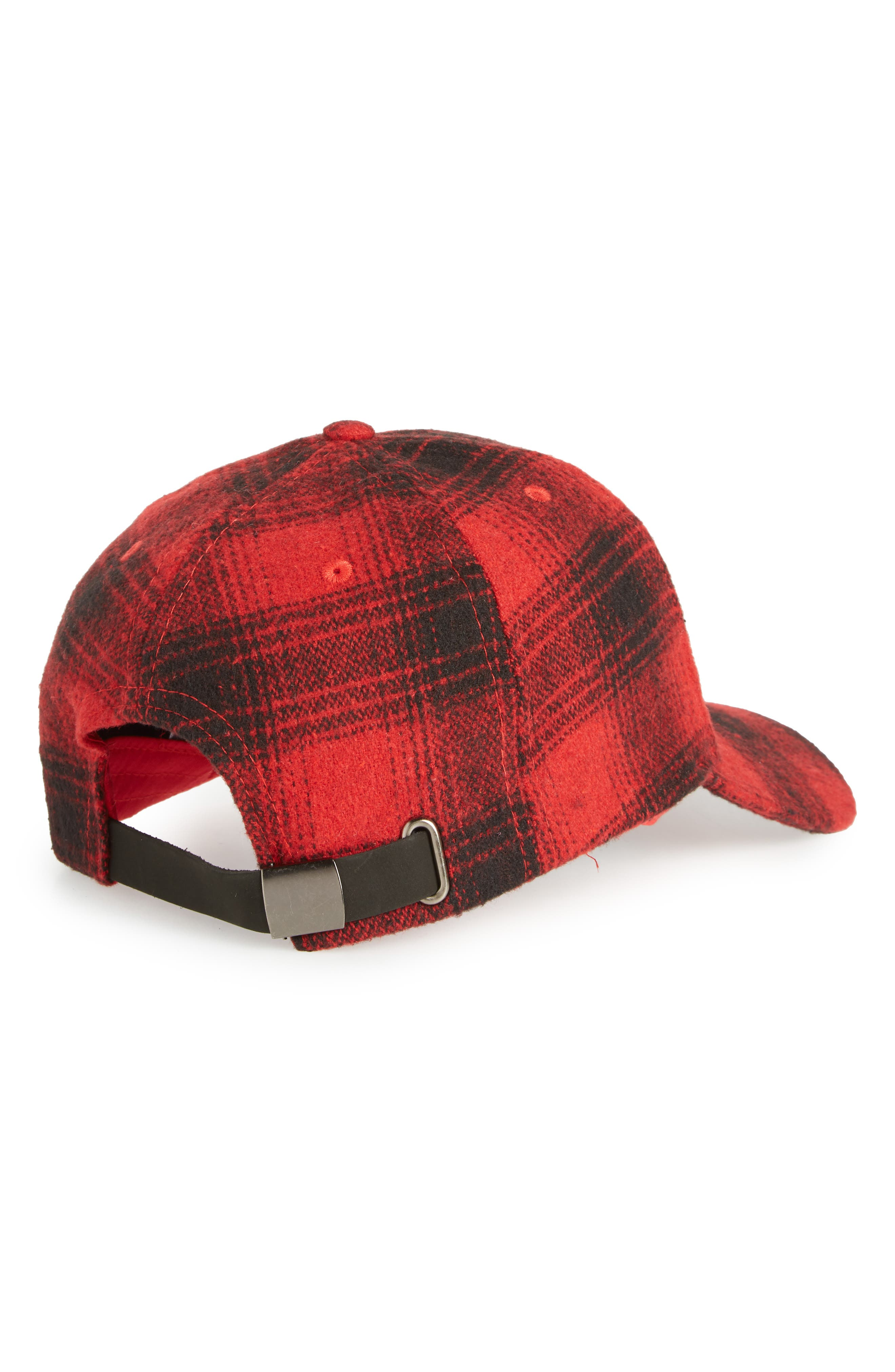 Buffalo Check Baseball Cap,                             Alternate thumbnail 2, color,                             RED CHINOISE