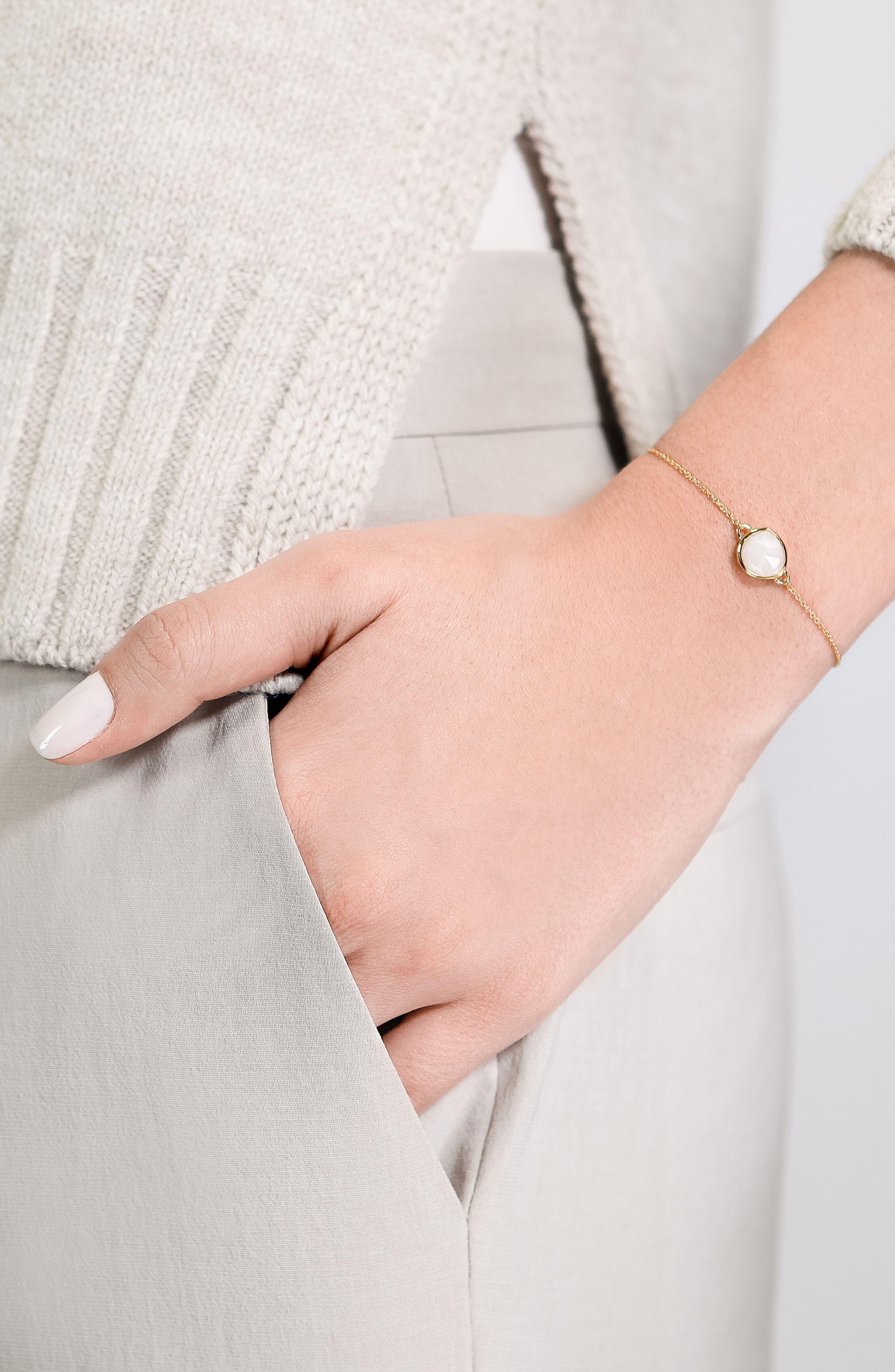 'Mini Siren' Fine Chain Bracelet,                             Alternate thumbnail 2, color,                             MOONSTONE/ YELLOW GOLD