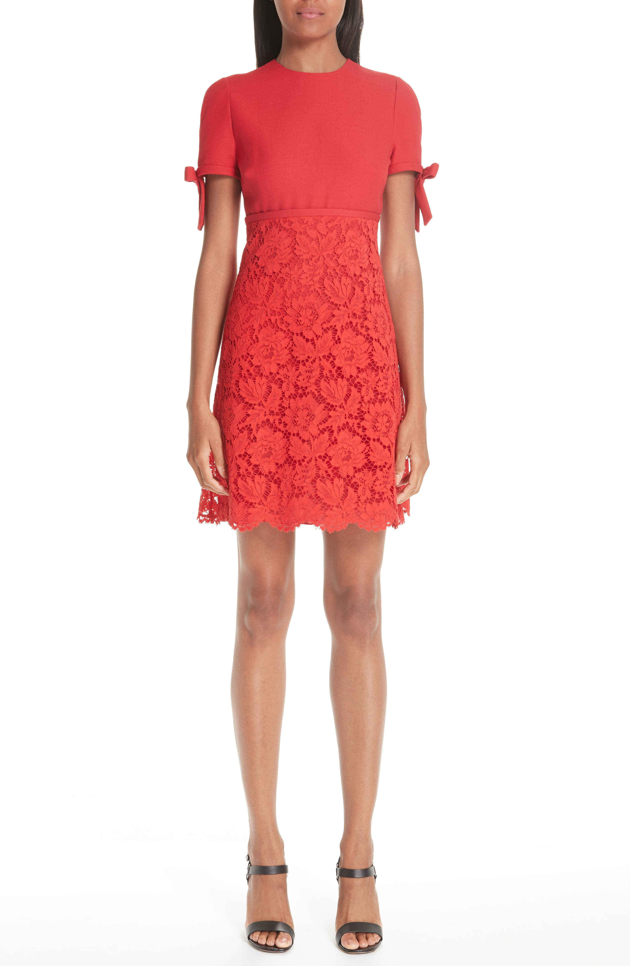 Bow Detail Lace Dress,                             Main thumbnail 1, color,                             RED