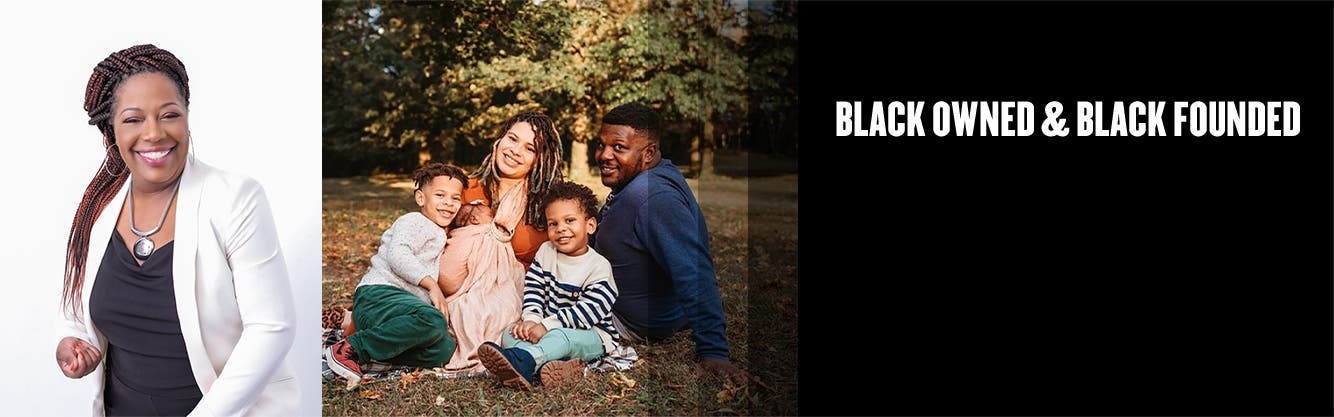 Black Owned and Black Founded: HBCU Pride & Joy founder Dr. T. Nichole Phillips; founders of Typical Black Tees Nicole and Daniel McCrimmon with family.