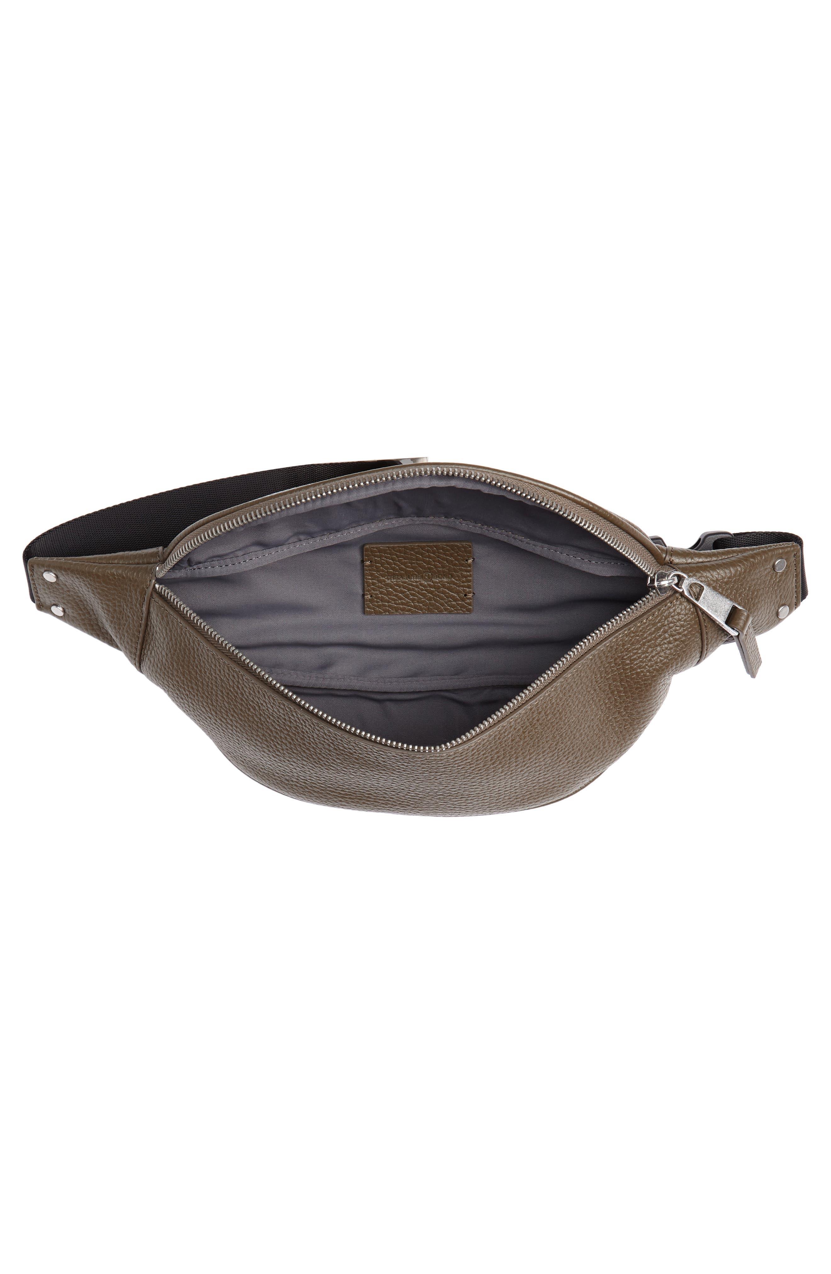 Mason Pebbled Leather Belt Bag,                             Alternate thumbnail 5, color,                             OLIVE GROVE