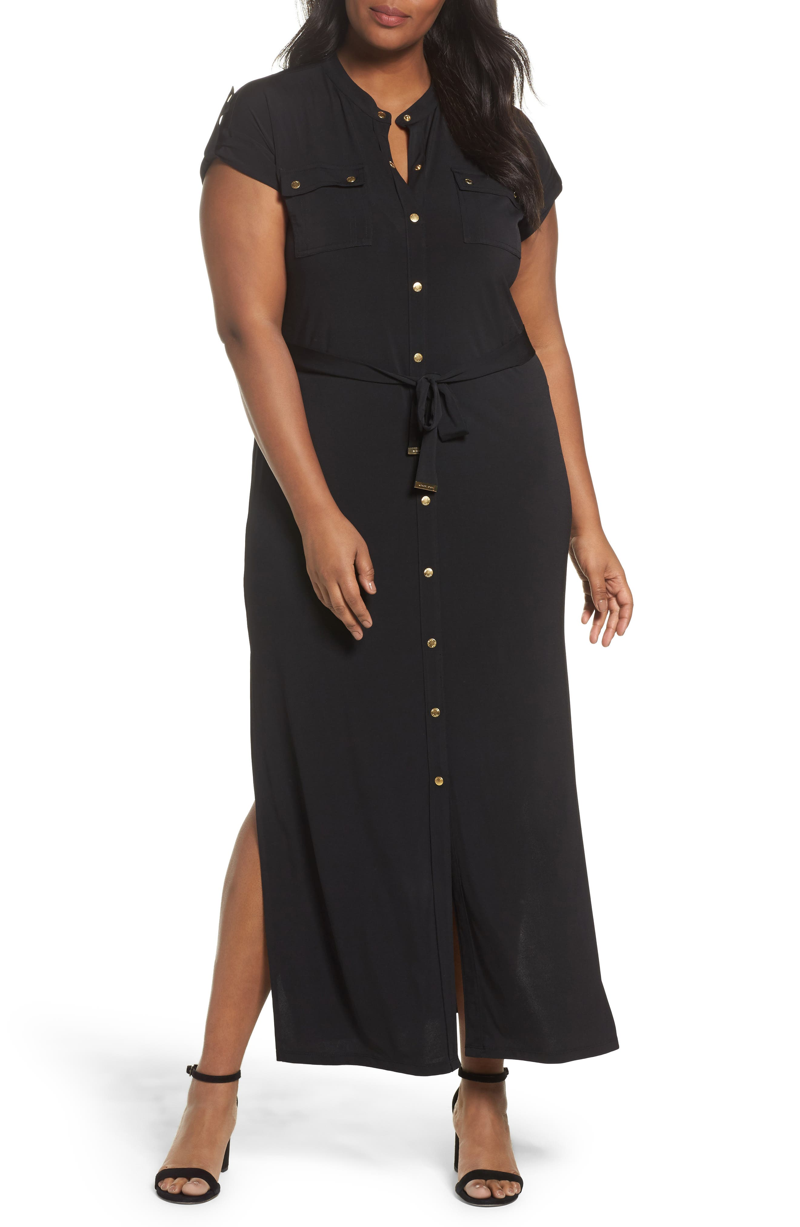 Matte Jersey Maxi Shirtdress,                             Alternate thumbnail 5, color,                             001