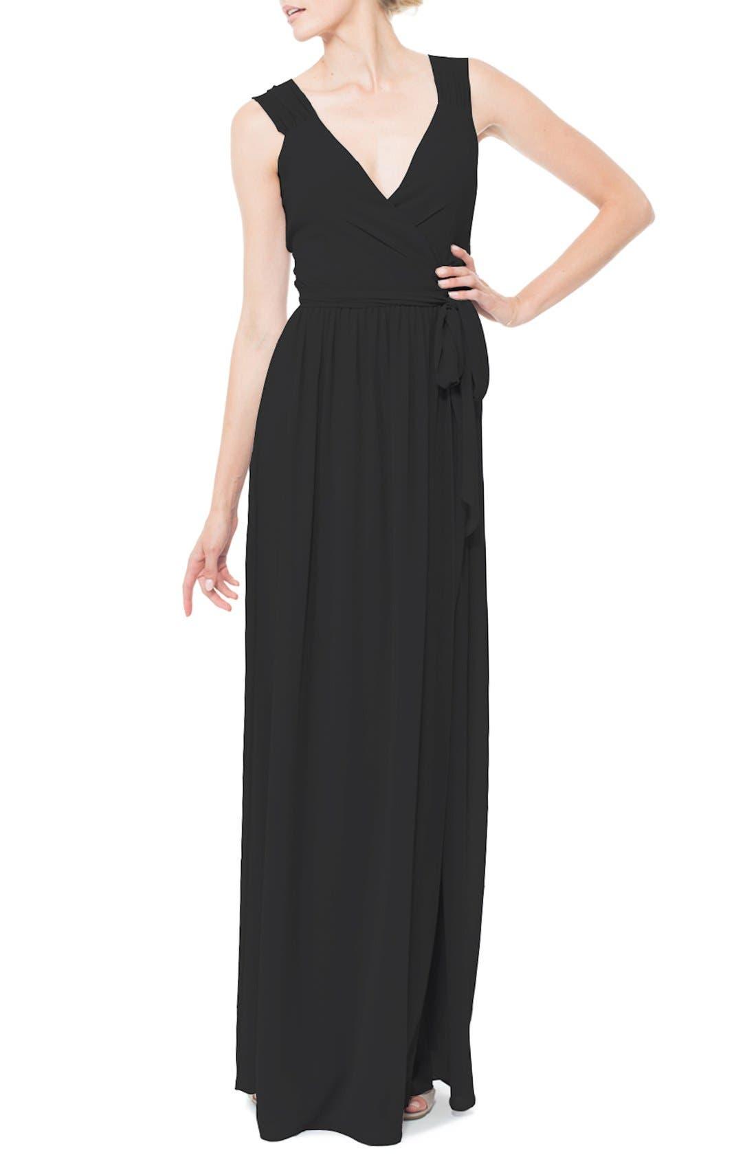 Newbury Gathered Sleeve Chiffon Wrap Gown,                             Main thumbnail 2, color,