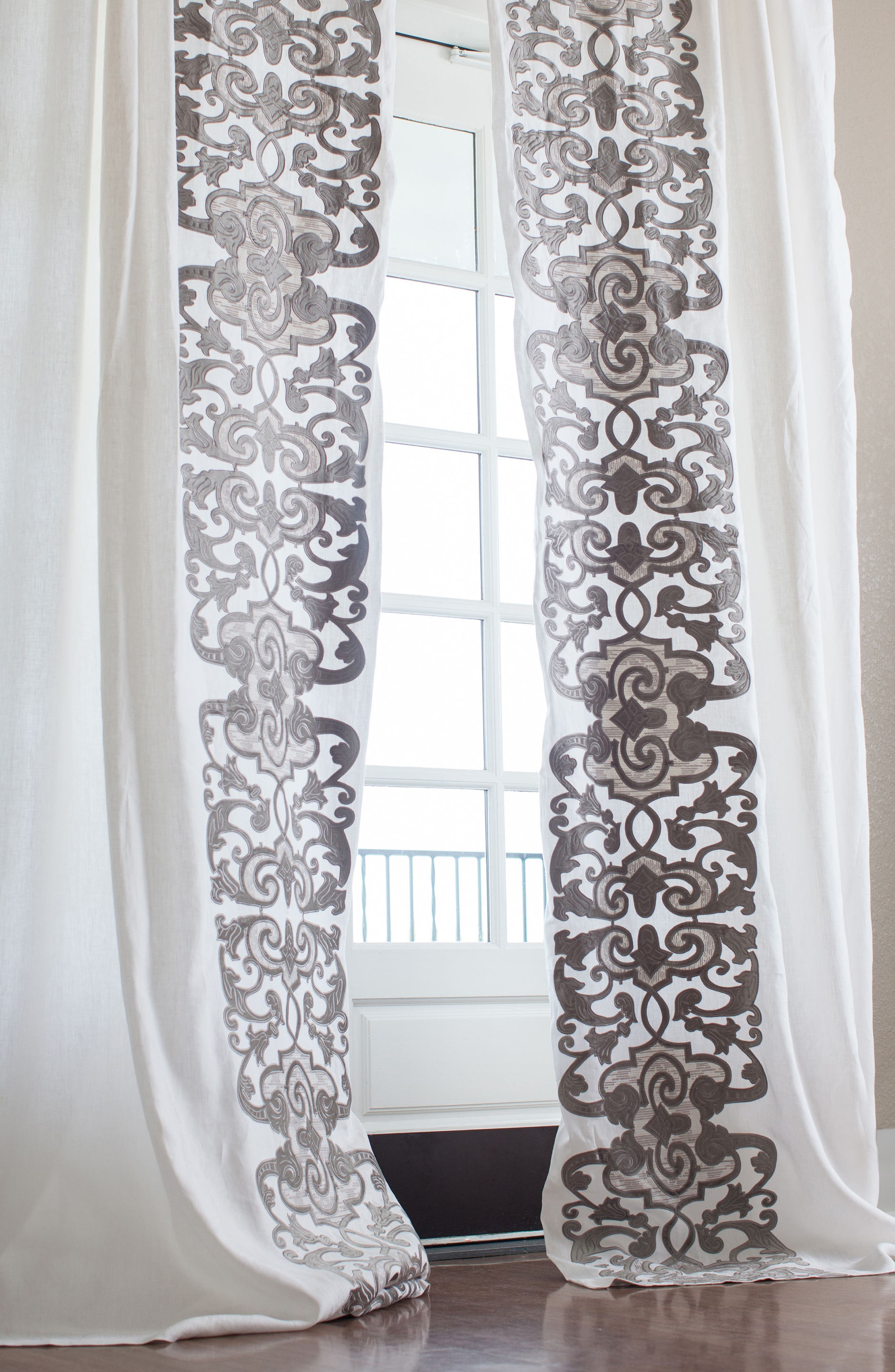 Mozart Window Panels,                             Main thumbnail 1, color,                             WHITE SILVER
