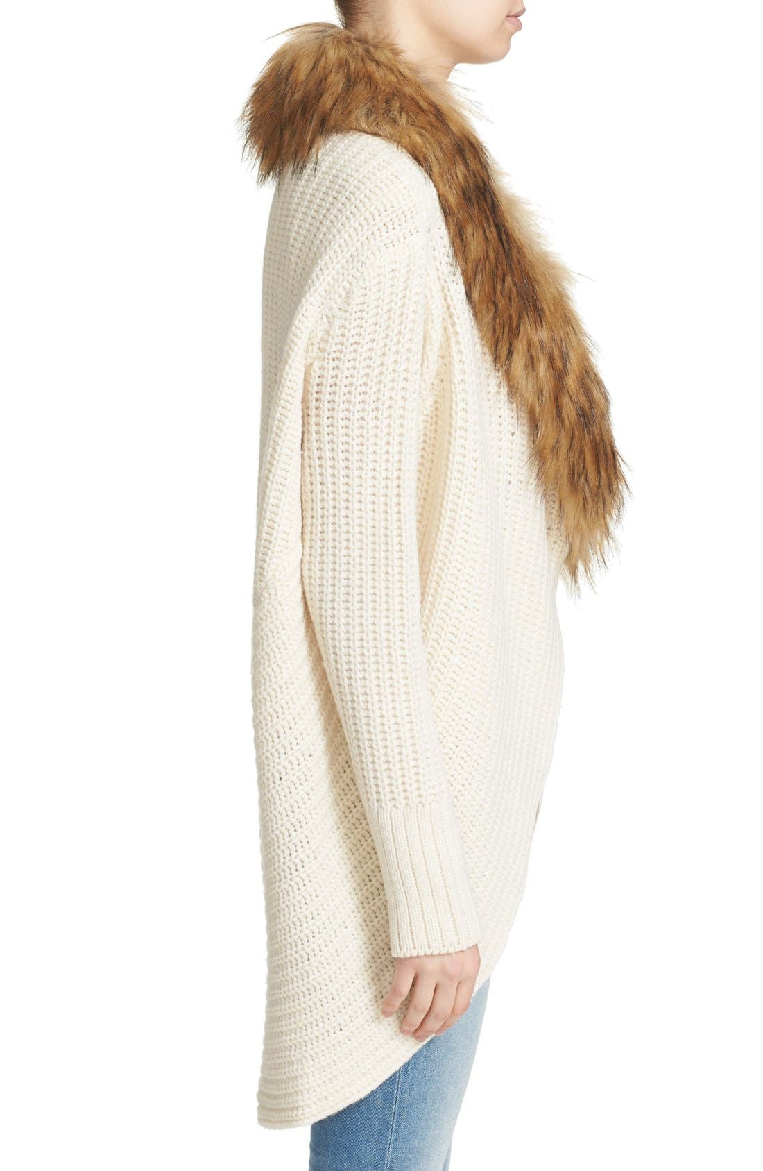 'Helma' Wool & Yak Cardigan with Faux Fur Collar,                             Alternate thumbnail 3, color,                             120