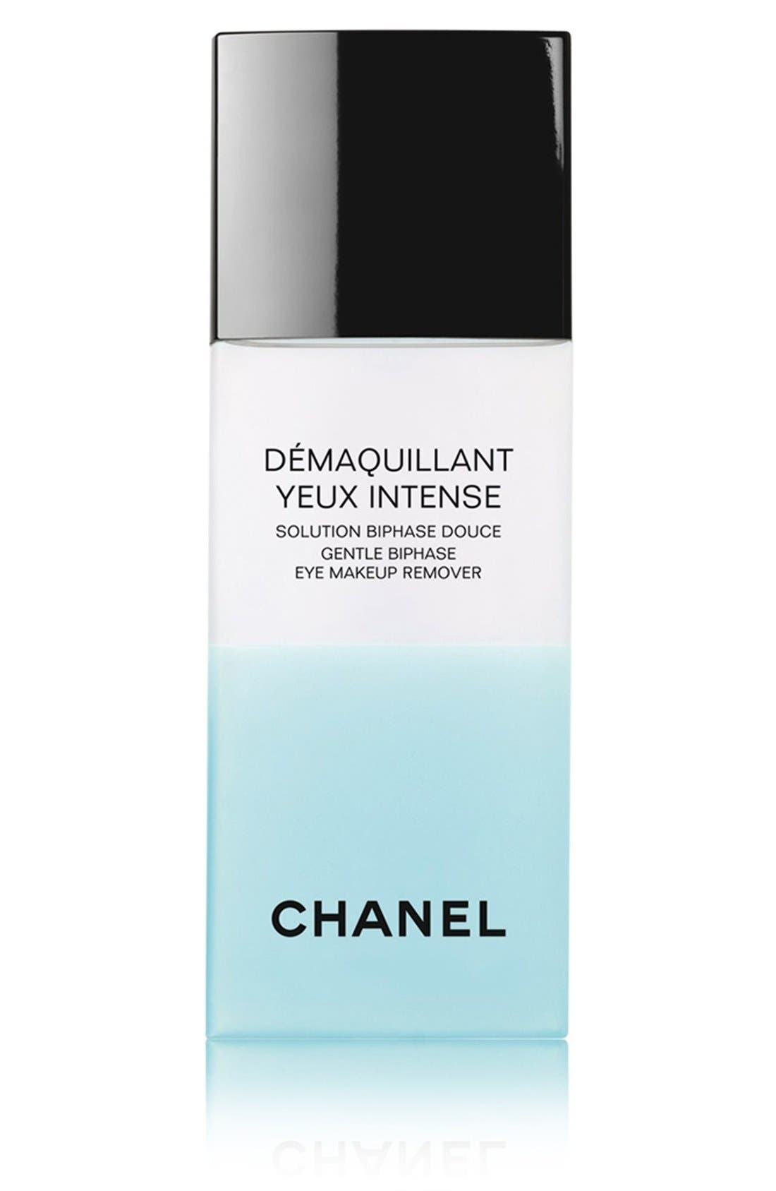 CHANEL,                             DÉMAQUILLANT YEUX INTENSE<br />Gentle Bi-Phase Eye Makeup Remover,                             Main thumbnail 1, color,                             NO COLOR