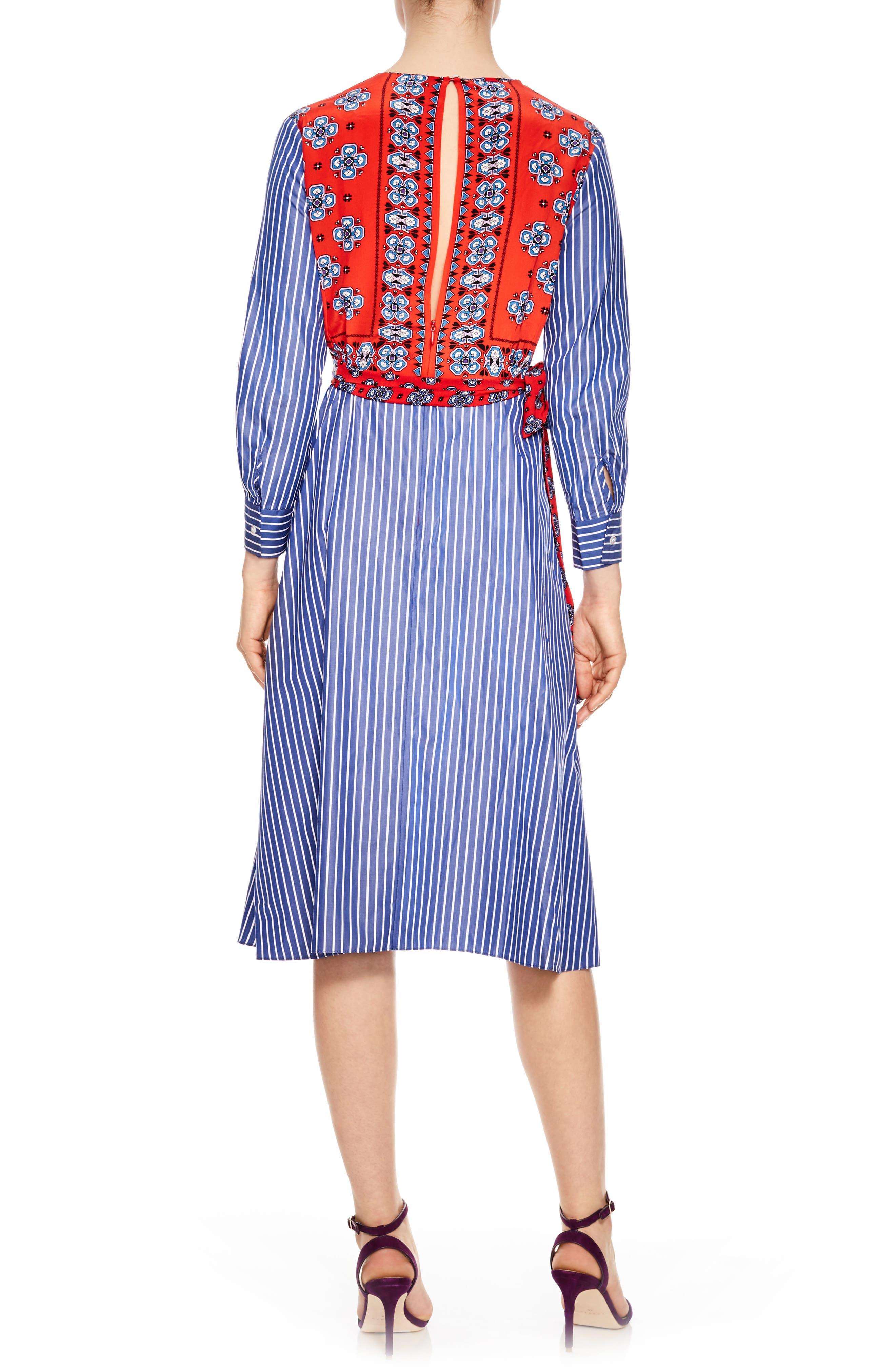 Mixed Print Cotton & Silk Faux Wrap Dress,                             Alternate thumbnail 2, color,                             600