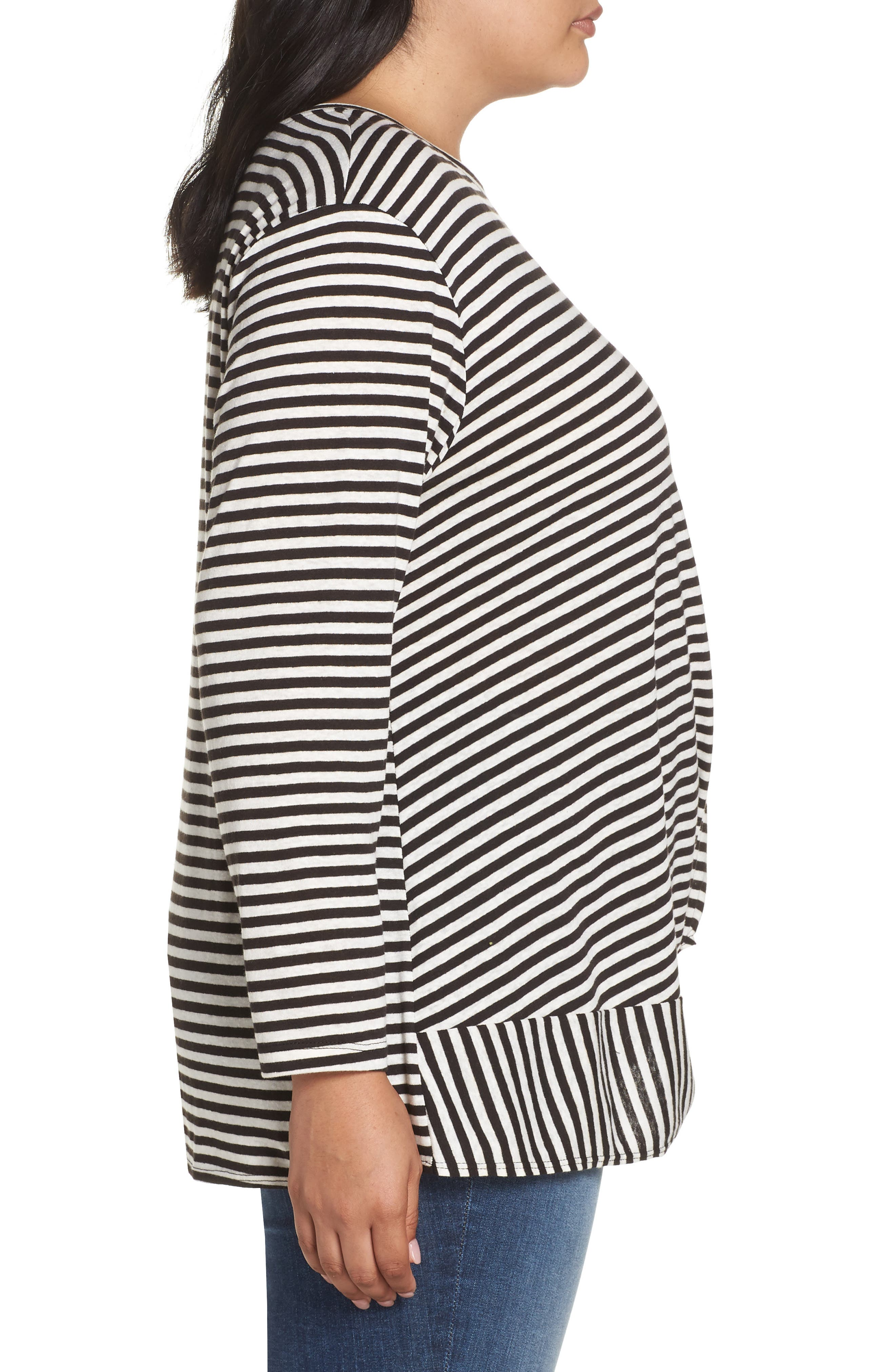 Knot Front Long Sleeve Tee,                             Alternate thumbnail 3, color,                             IVORY- BLACK EVEN STRIPE