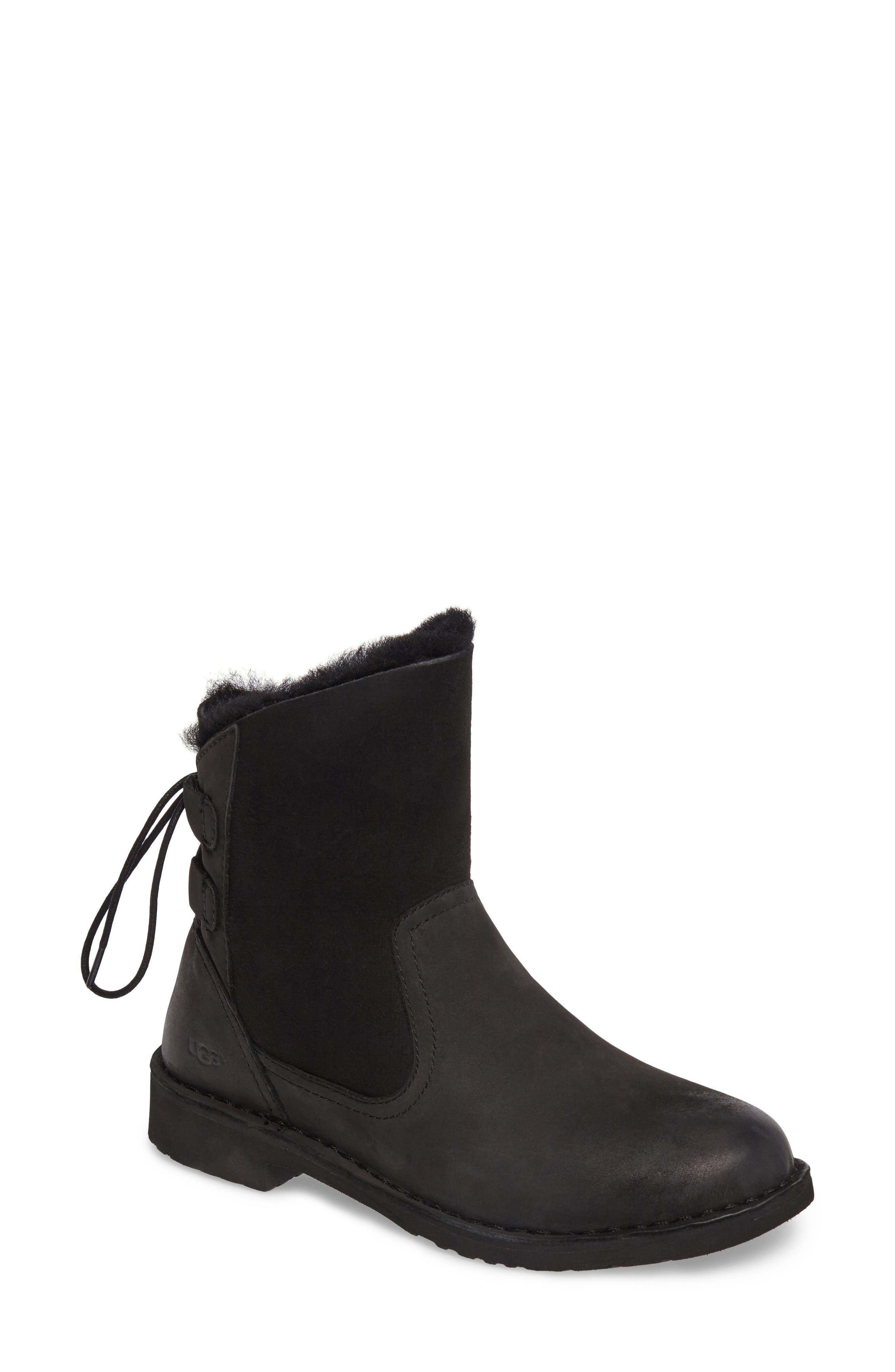 Naiyah Lace-Back Genuine Shearling Boot,                         Main,                         color, BLACK/ BLACK NUBUCK LEATHER