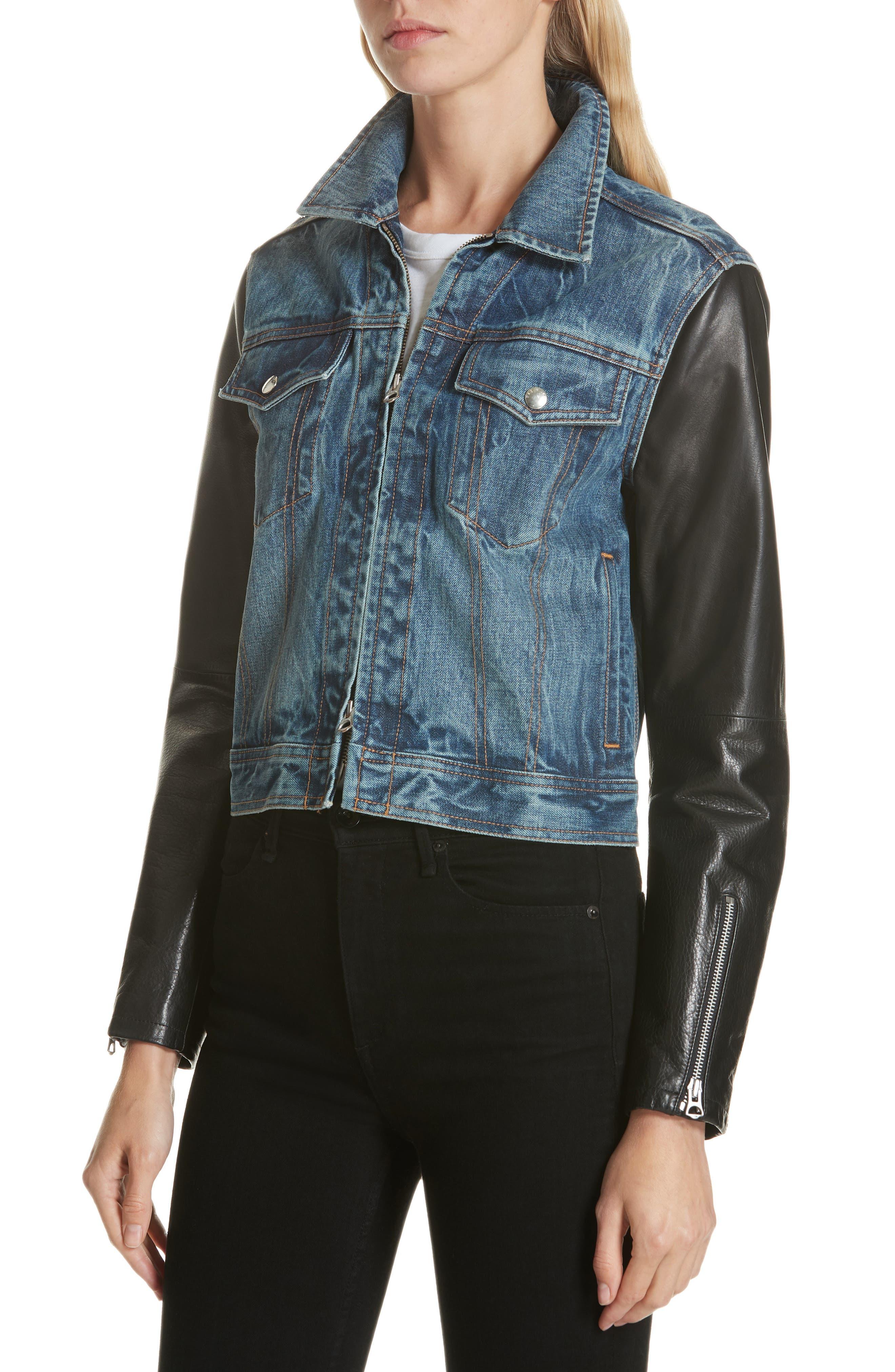 Zip Nico Denim & Leather Jacket,                             Alternate thumbnail 4, color,                             INDIGO