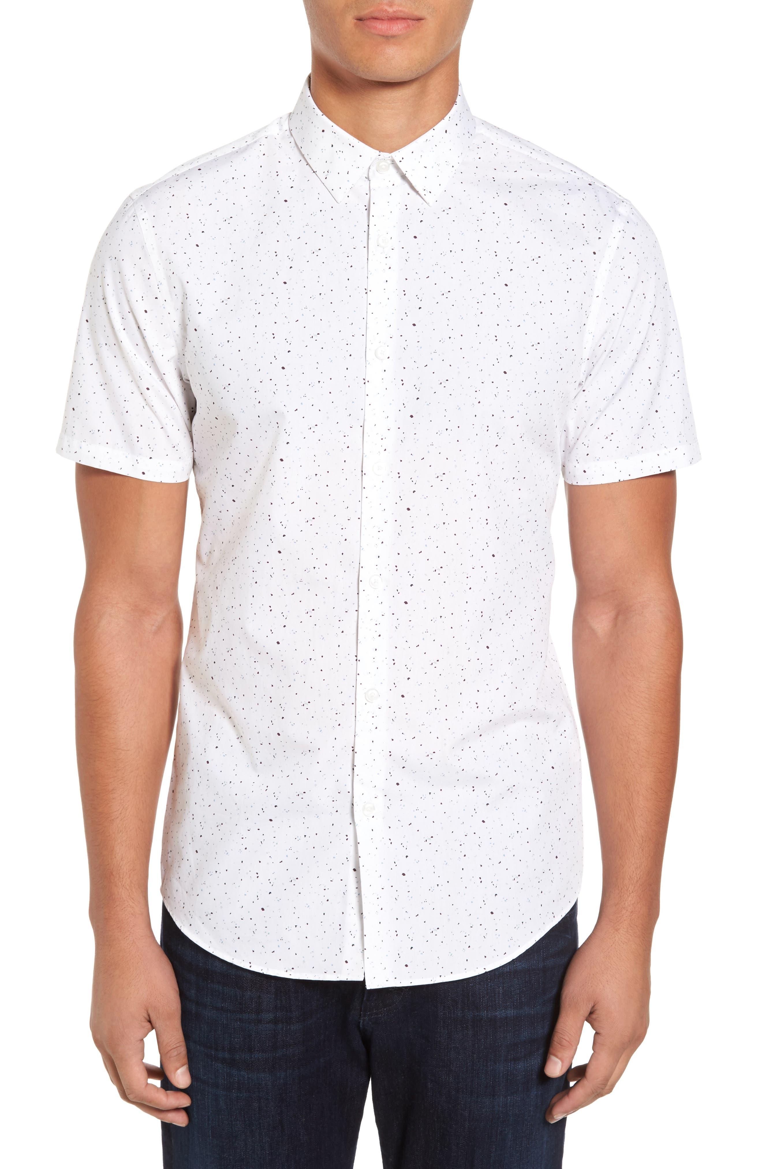 Speckle Print Sport Shirt,                         Main,                         color, 100