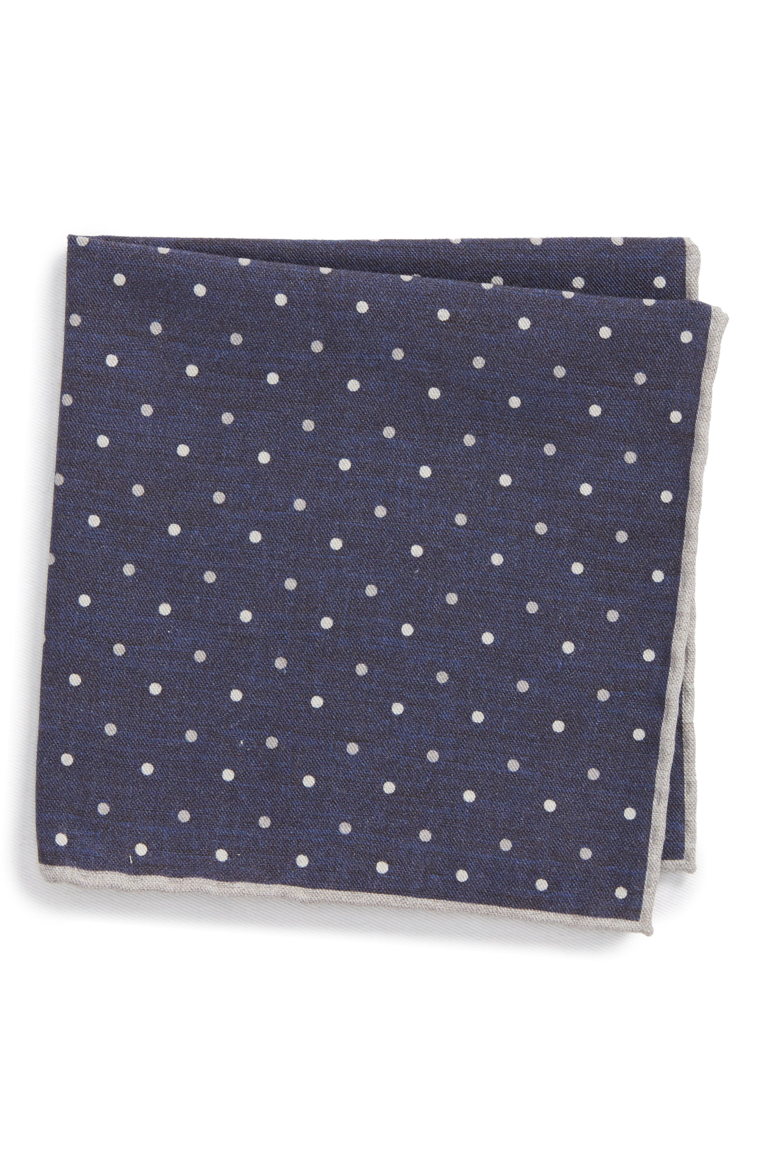 Dotted Wool & Cotton Pocket Square,                             Main thumbnail 2, color,