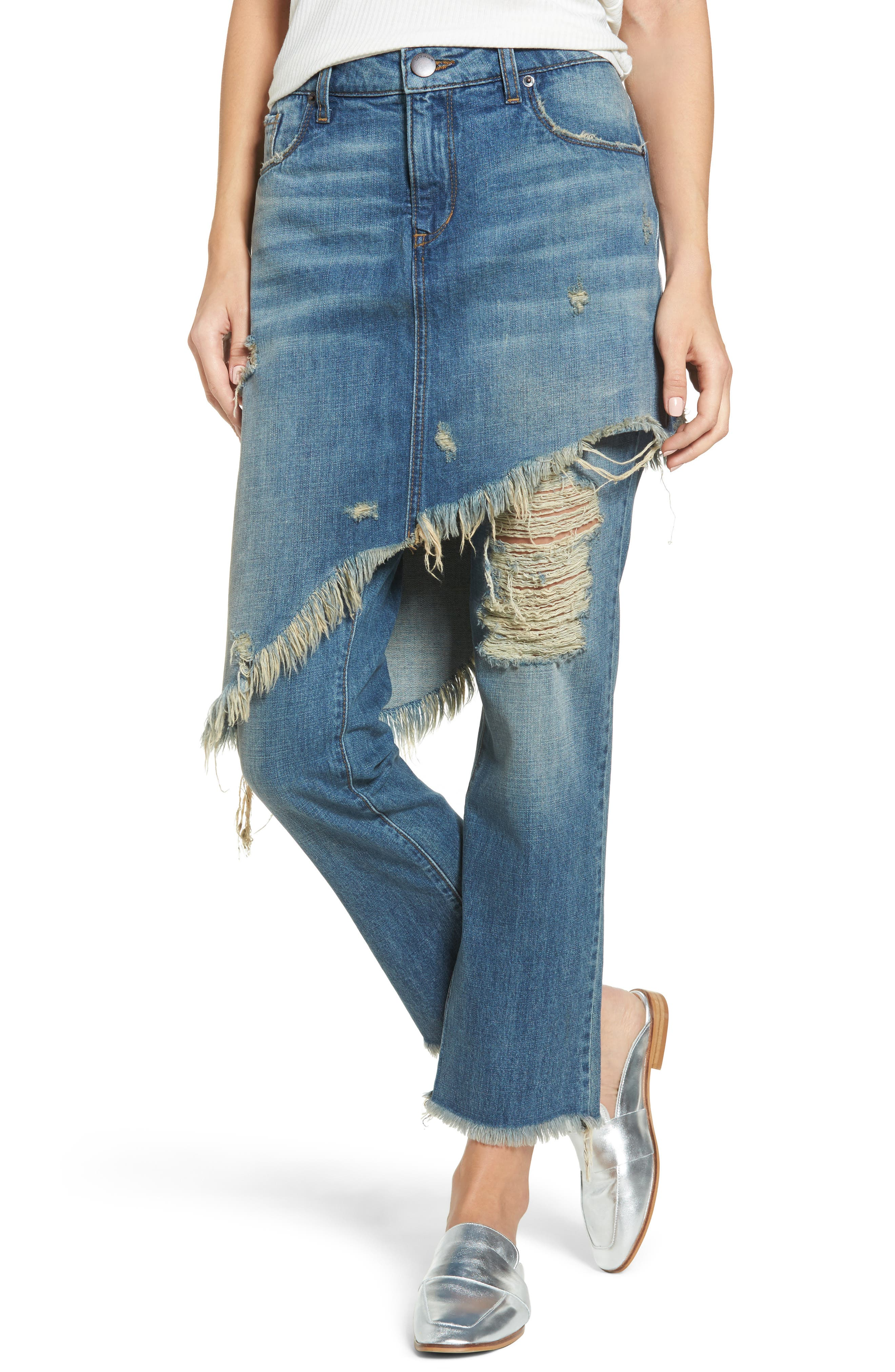 Layered Ripped Skirt Jeans,                             Main thumbnail 1, color,                             400