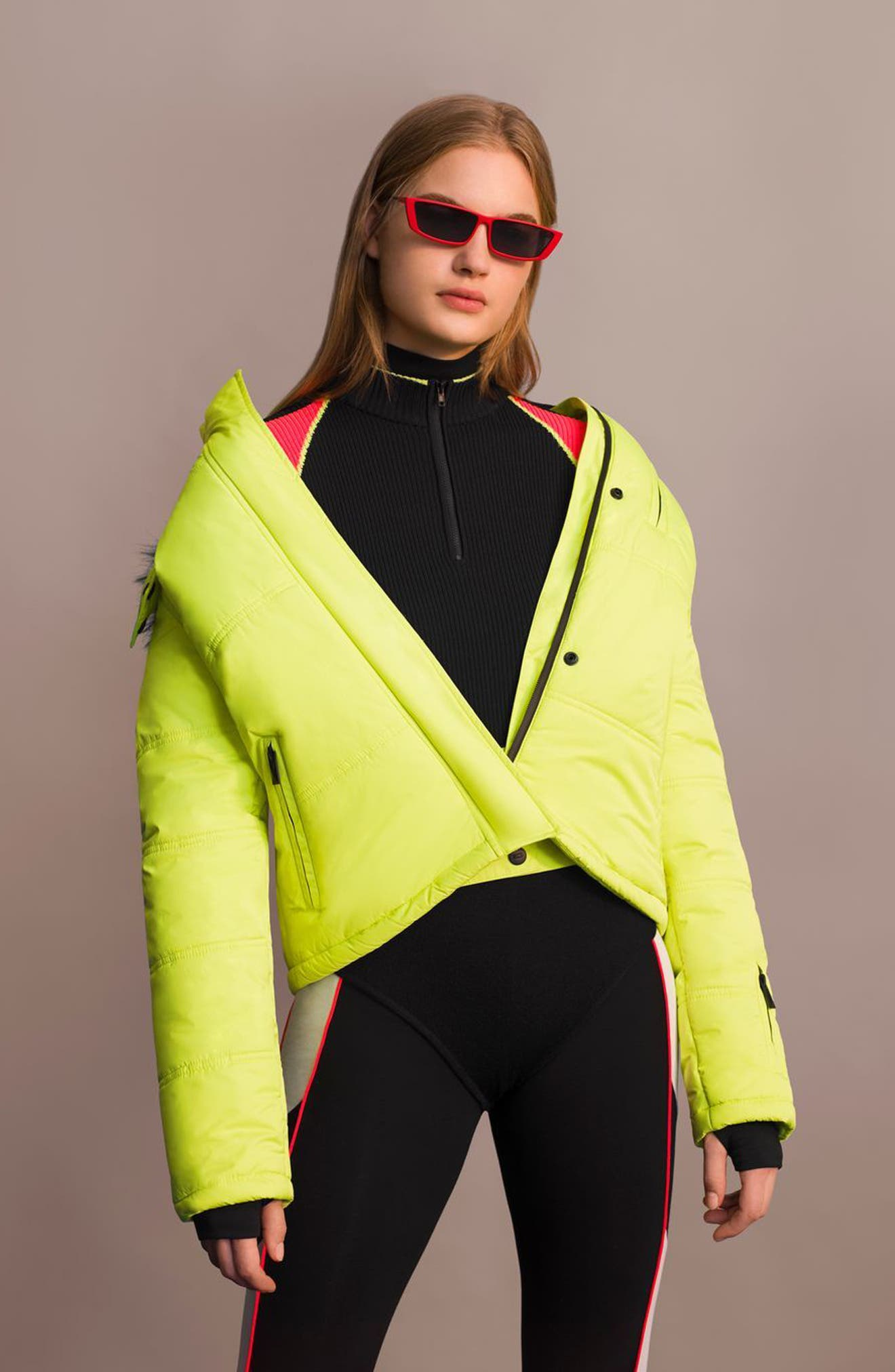 SNO Rio Faux Fur Hood Neon Puffer Jacket,                             Alternate thumbnail 16, color,