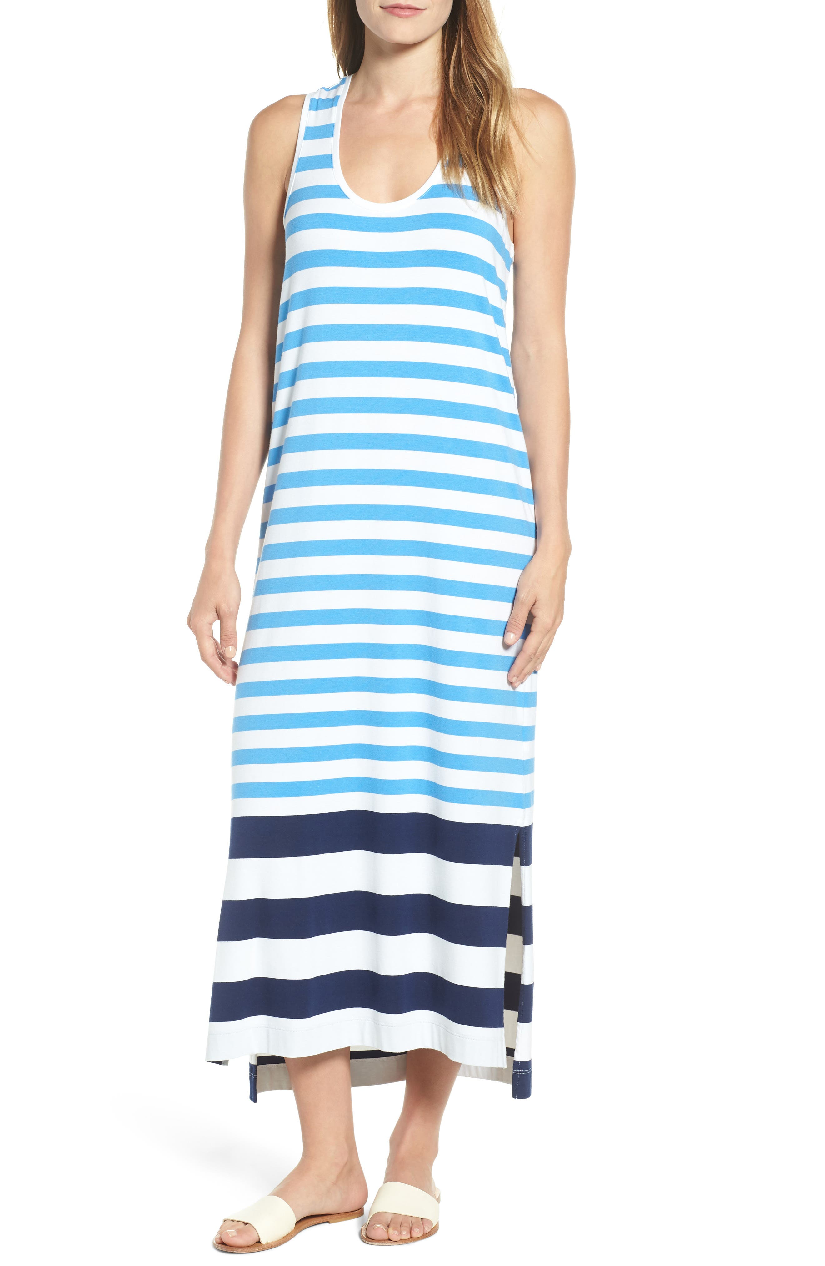 Striped Maxi Tank Dress,                             Main thumbnail 1, color,
