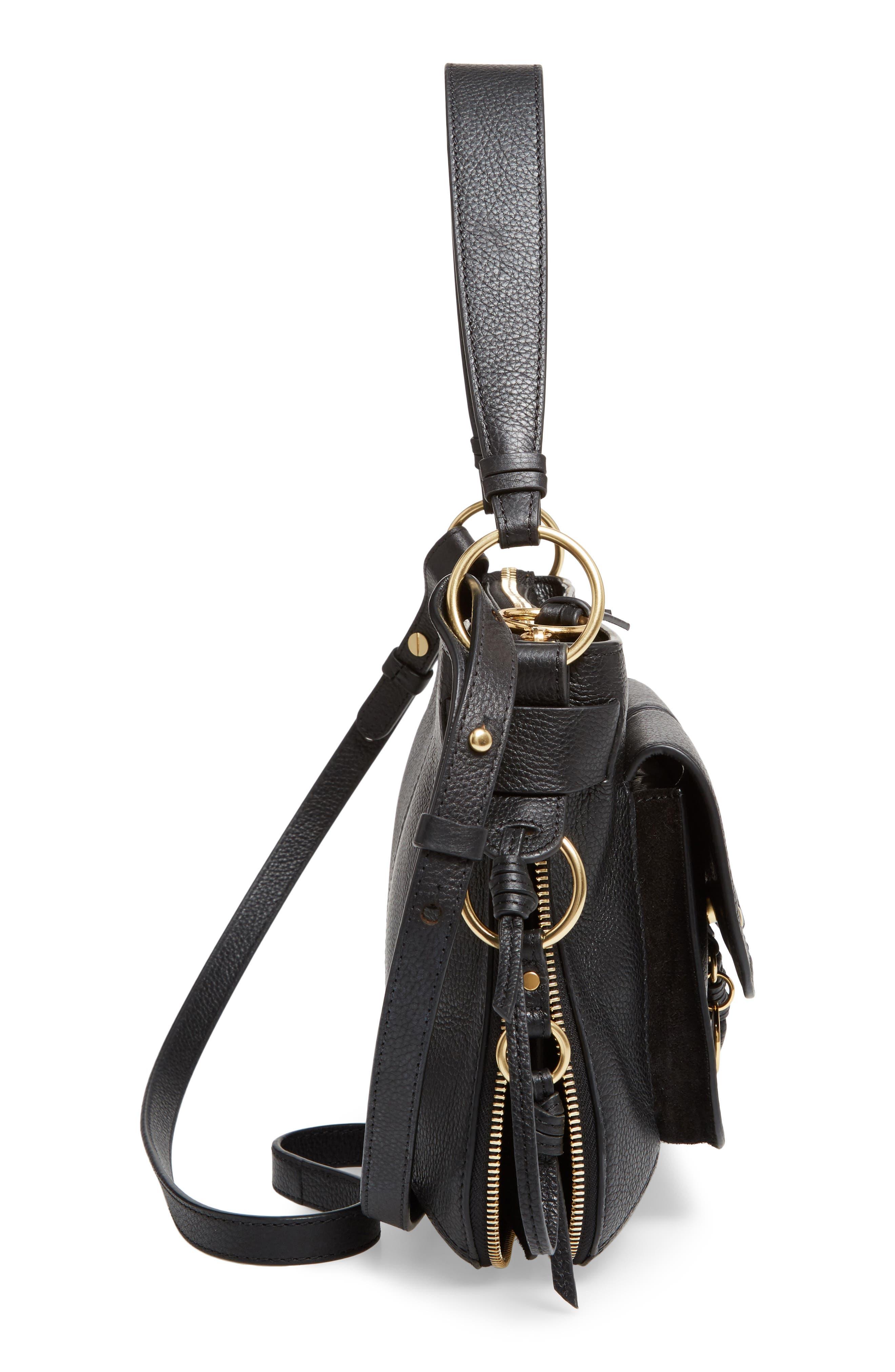 Leather Shoulder Bag,                             Alternate thumbnail 5, color,                             001