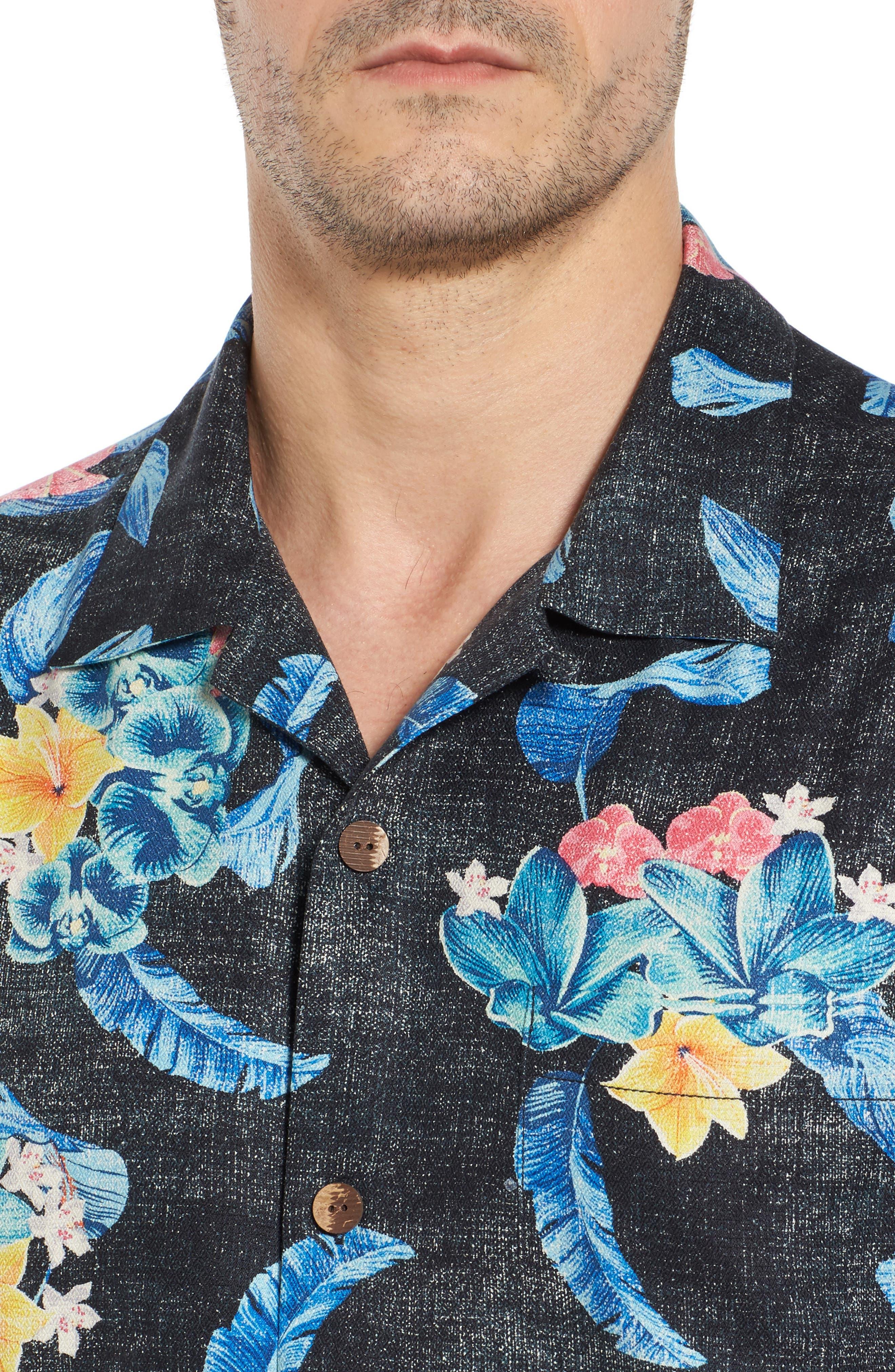 Salt Water Blooms Silk Sport Shirt,                             Alternate thumbnail 4, color,                             001