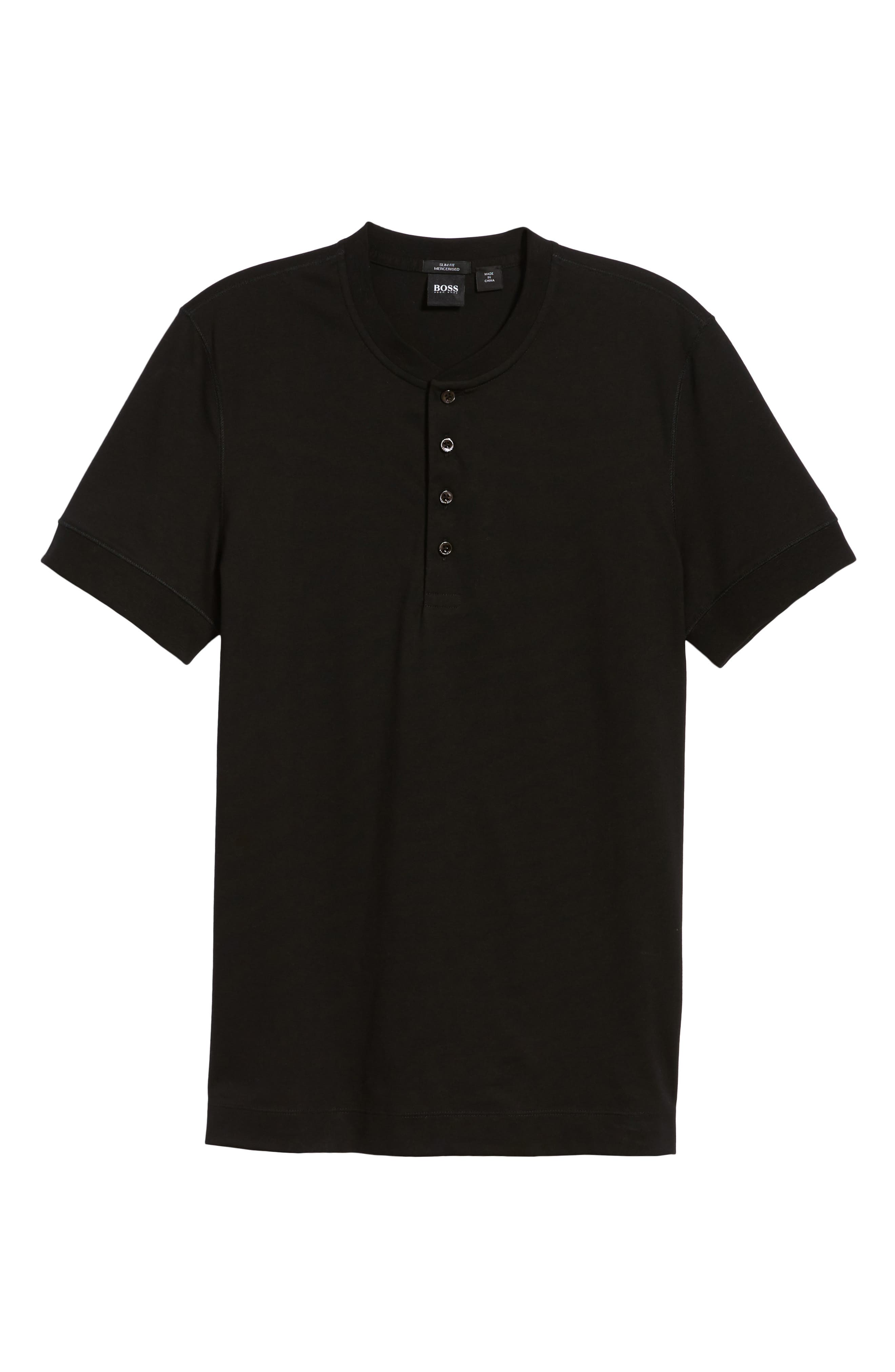 Tiller Short Sleeve Henley,                             Alternate thumbnail 6, color,                             BLACK