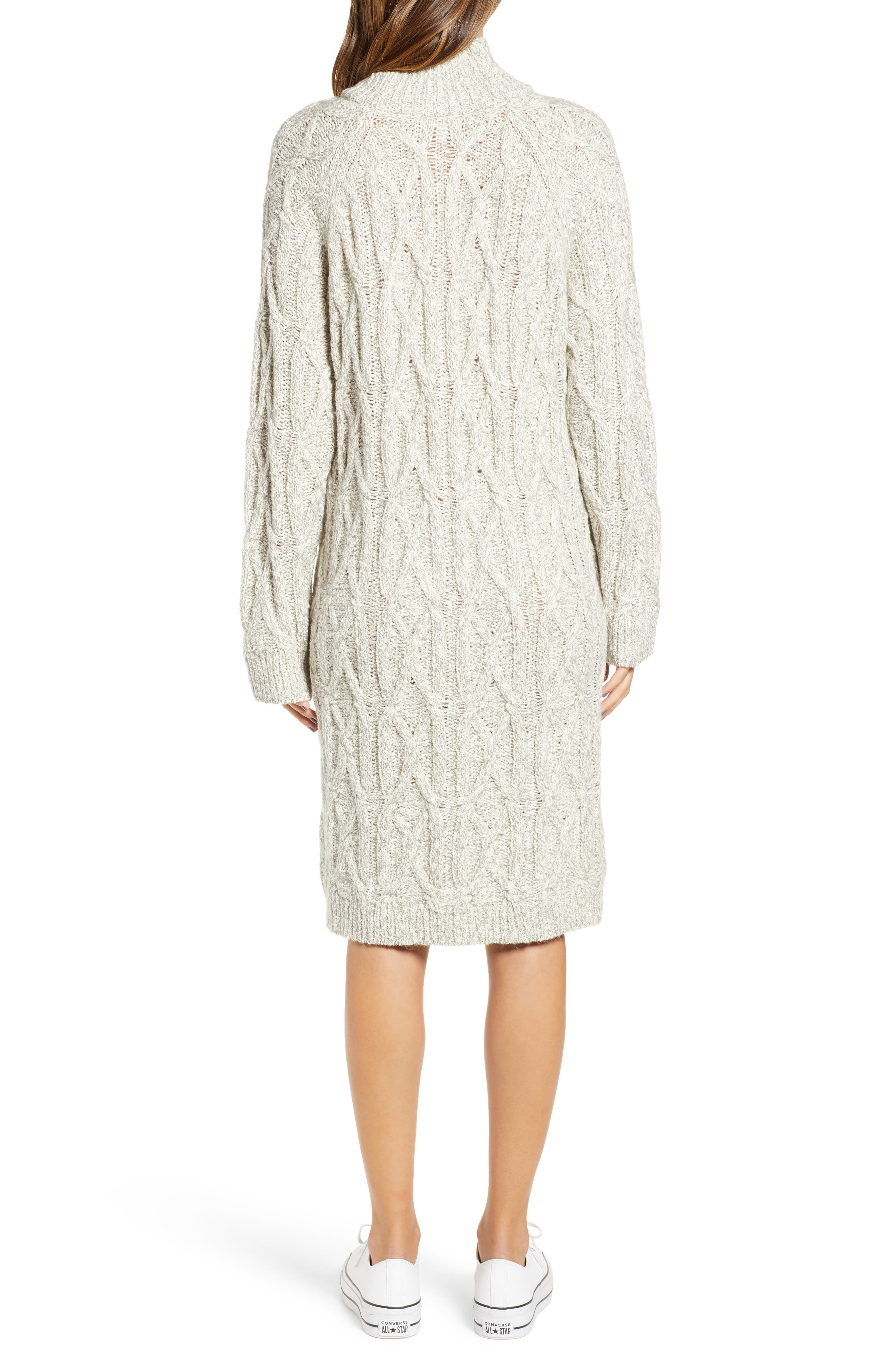 Cable Knit Sweater Dress,                             Alternate thumbnail 2, color,                             GREY PEARL MARL
