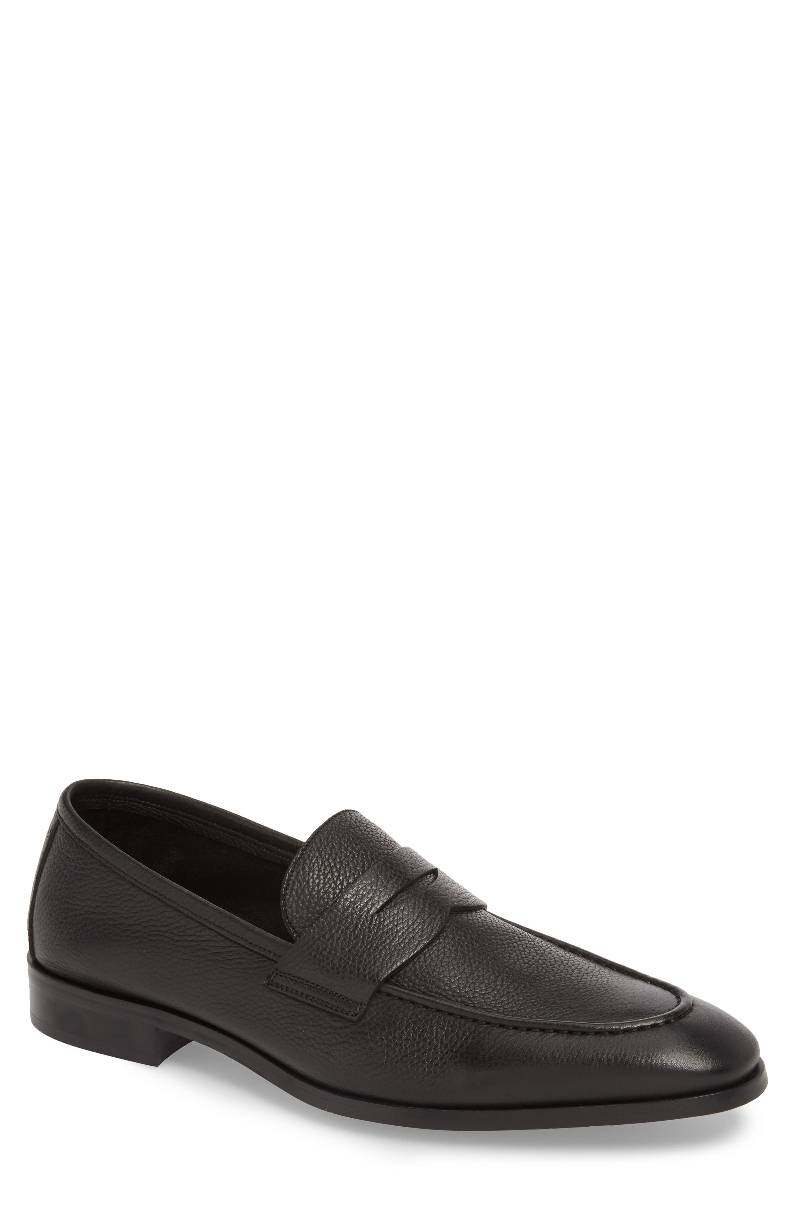 TO BOOT NEW YORK Men'S Johnson Leather Apron Toe Penny Loafers in Black