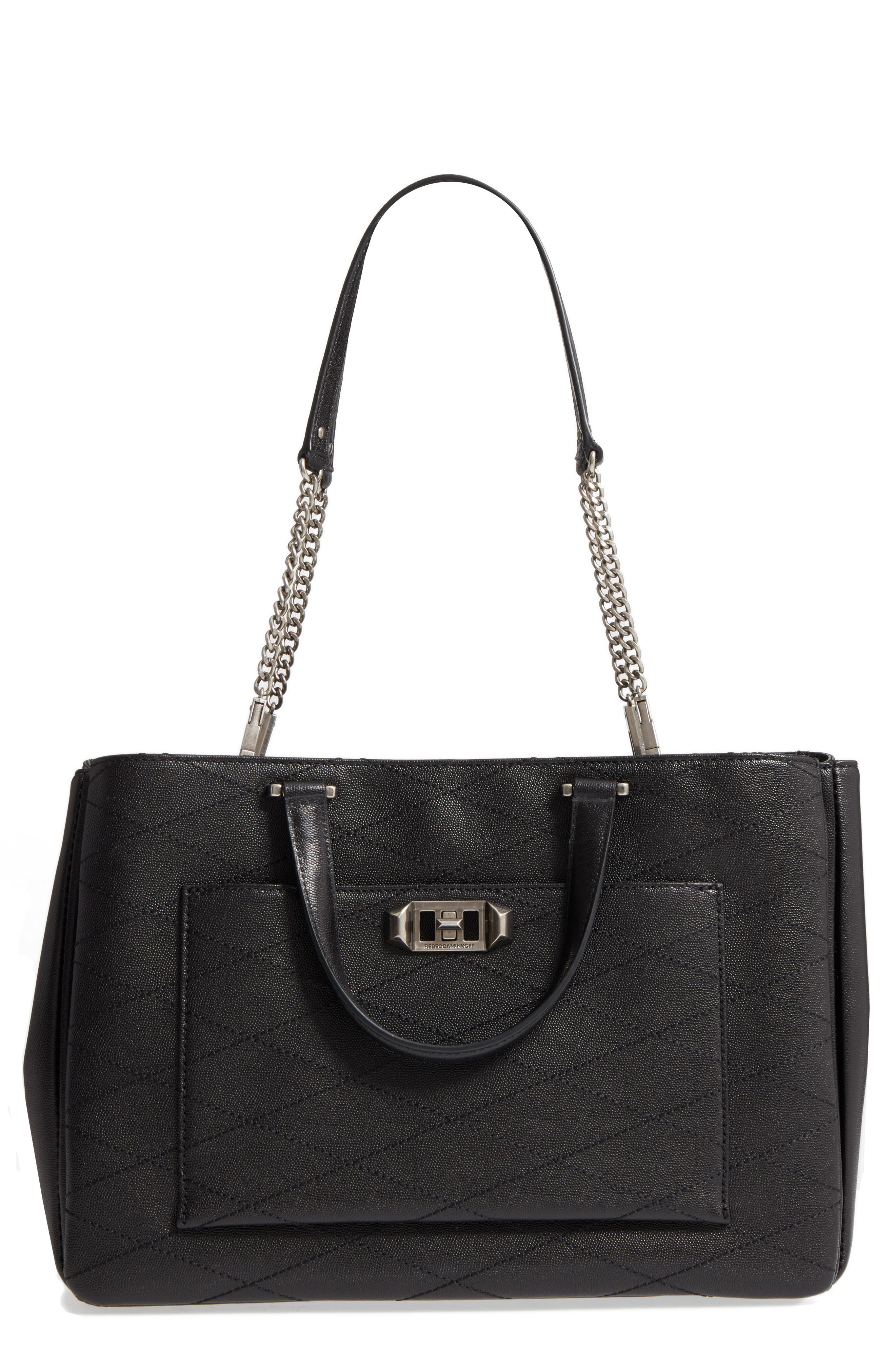 Je T'aime Leather Work Tote,                             Main thumbnail 1, color,                             001