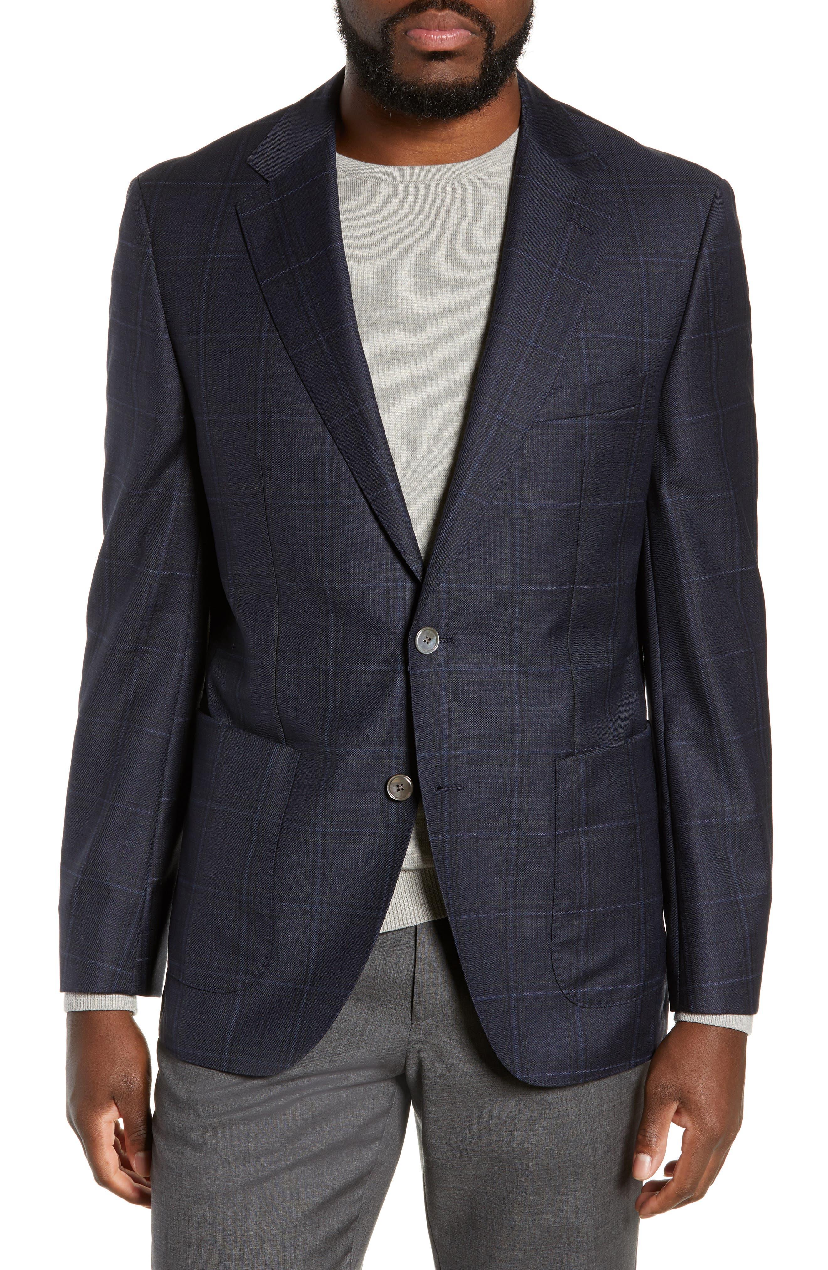 BOSS Janson Classic Fit Windowpane Wool Sport Coat in Dark Blue