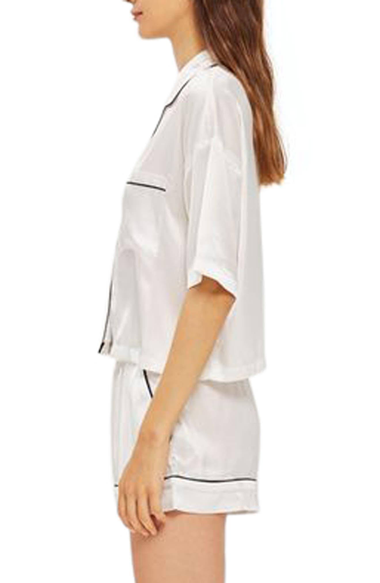 TOPSHOP,                             Chloe Satin Short Pajamas,                             Alternate thumbnail 2, color,                             100