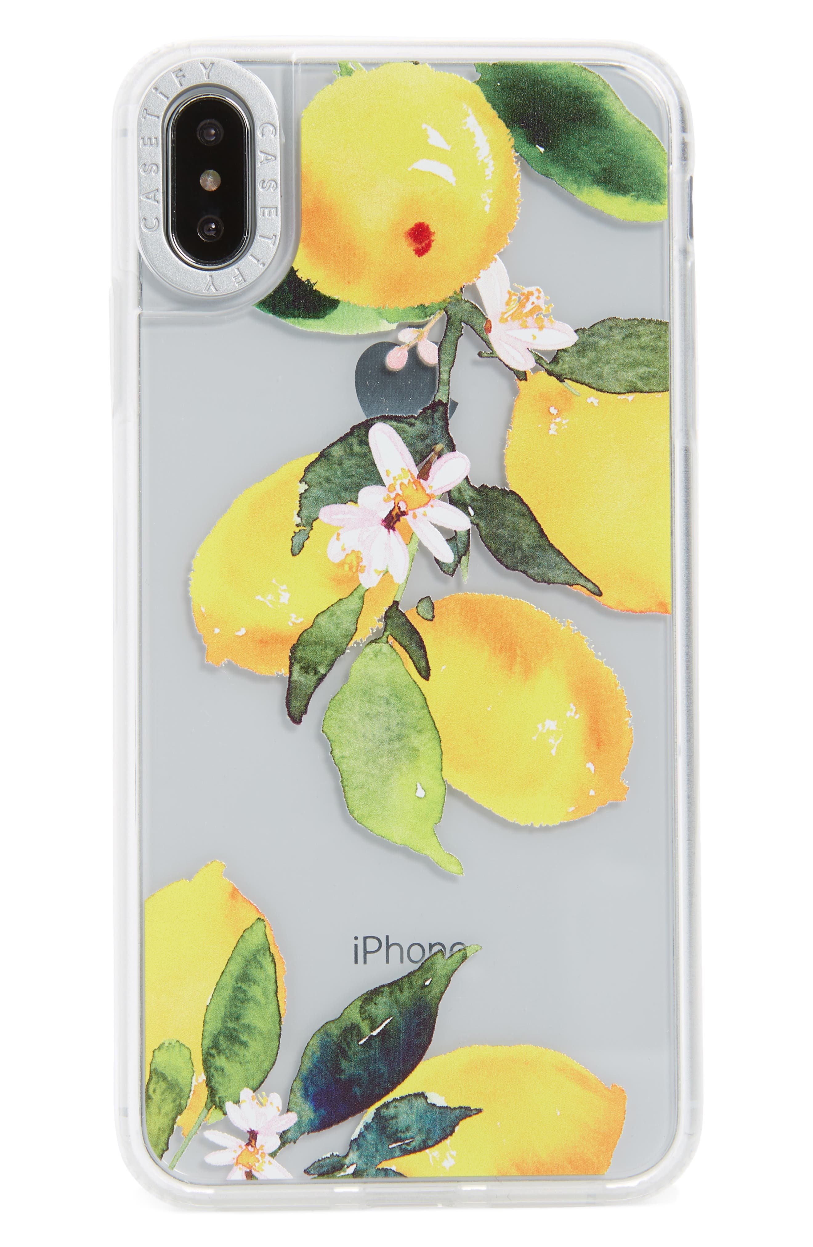 Watercolor Lemon Clear Grip iPhone X/Xs, XR & X Max Case,                             Main thumbnail 1, color,                             YELLOW/ GREEN