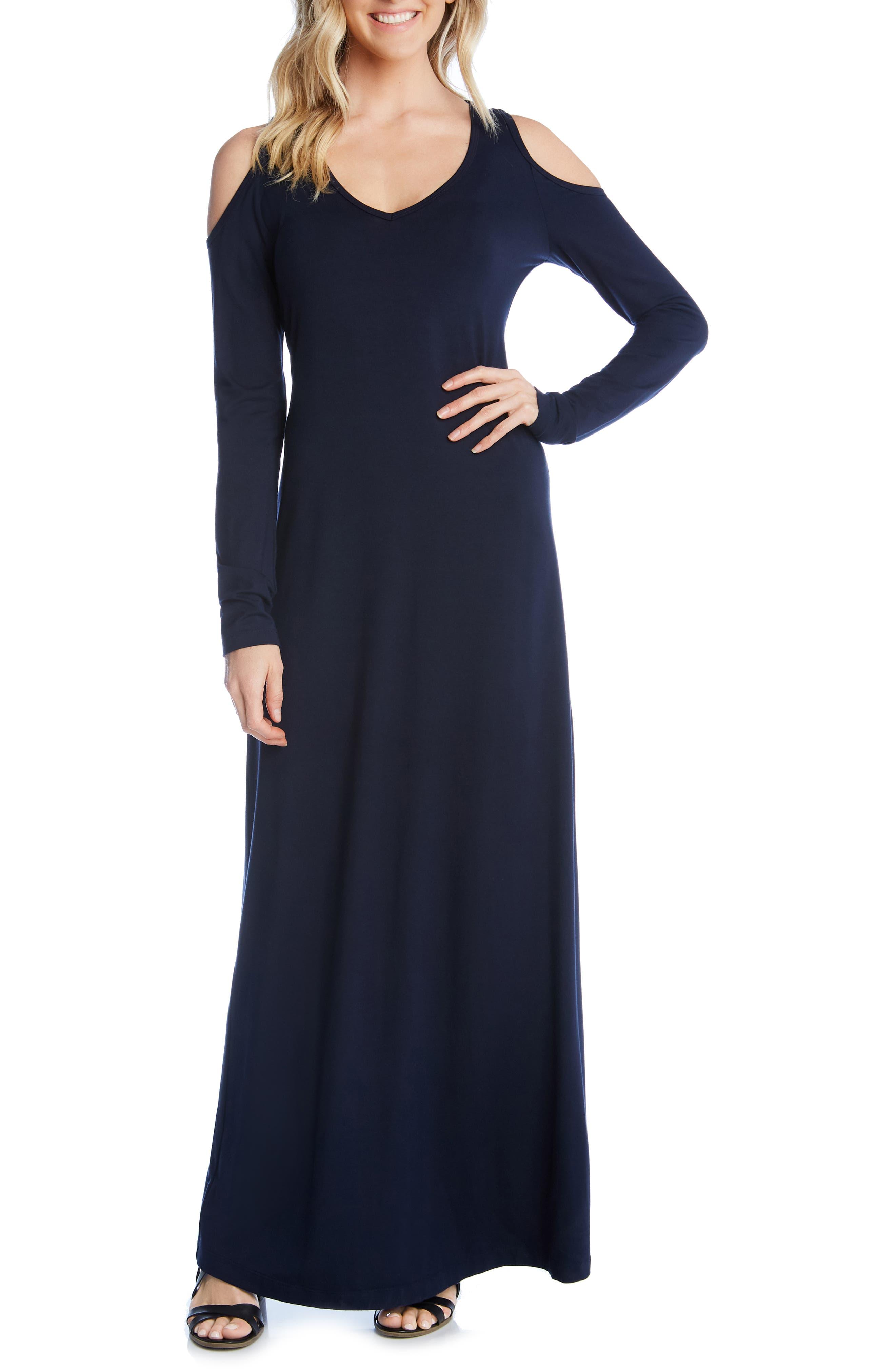 Karen Kane Cold Shoulder Maxi Dress, Blue