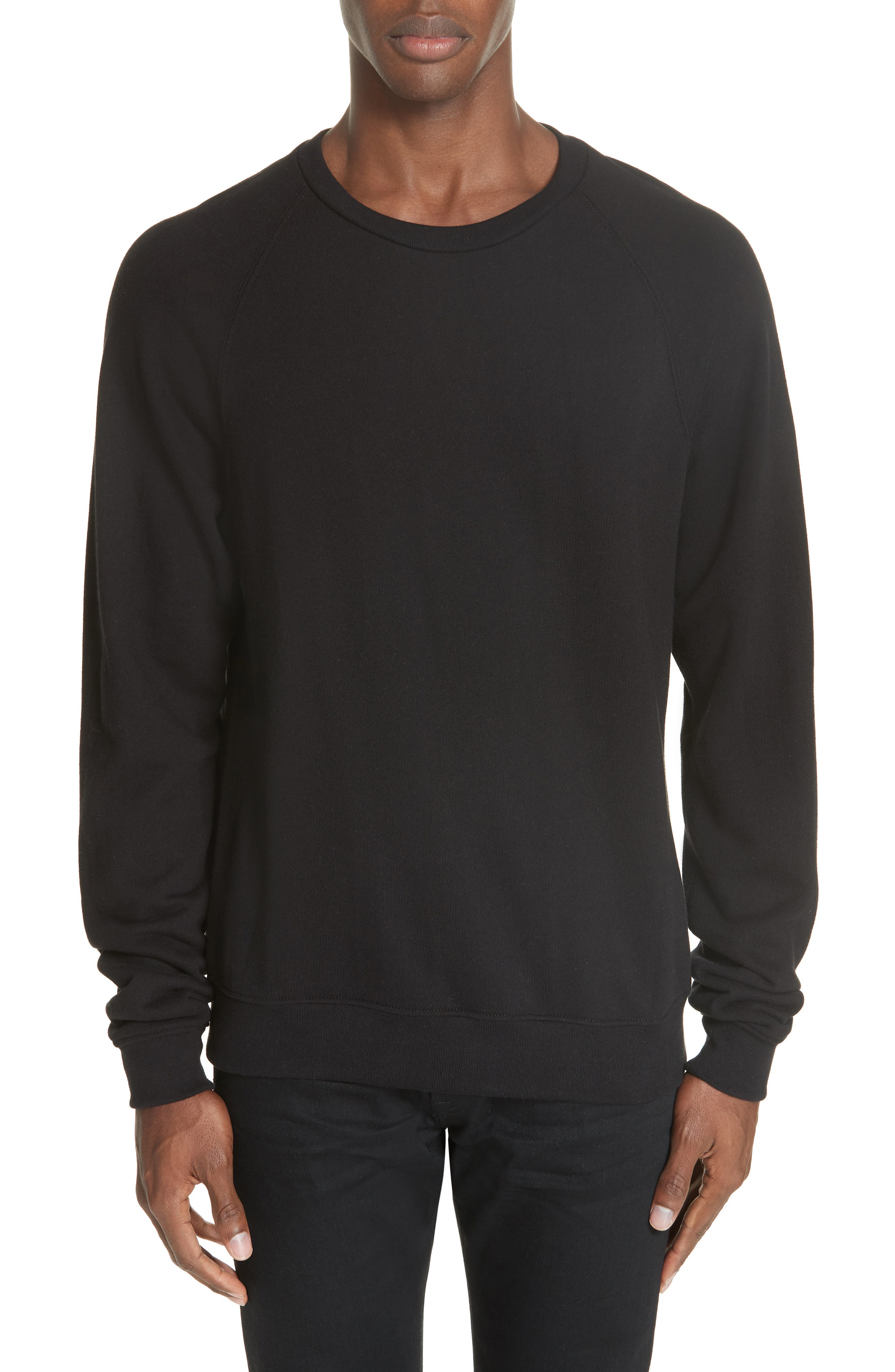 Raglan Crewneck Sweatshirt,                             Main thumbnail 1, color,                             BLACK