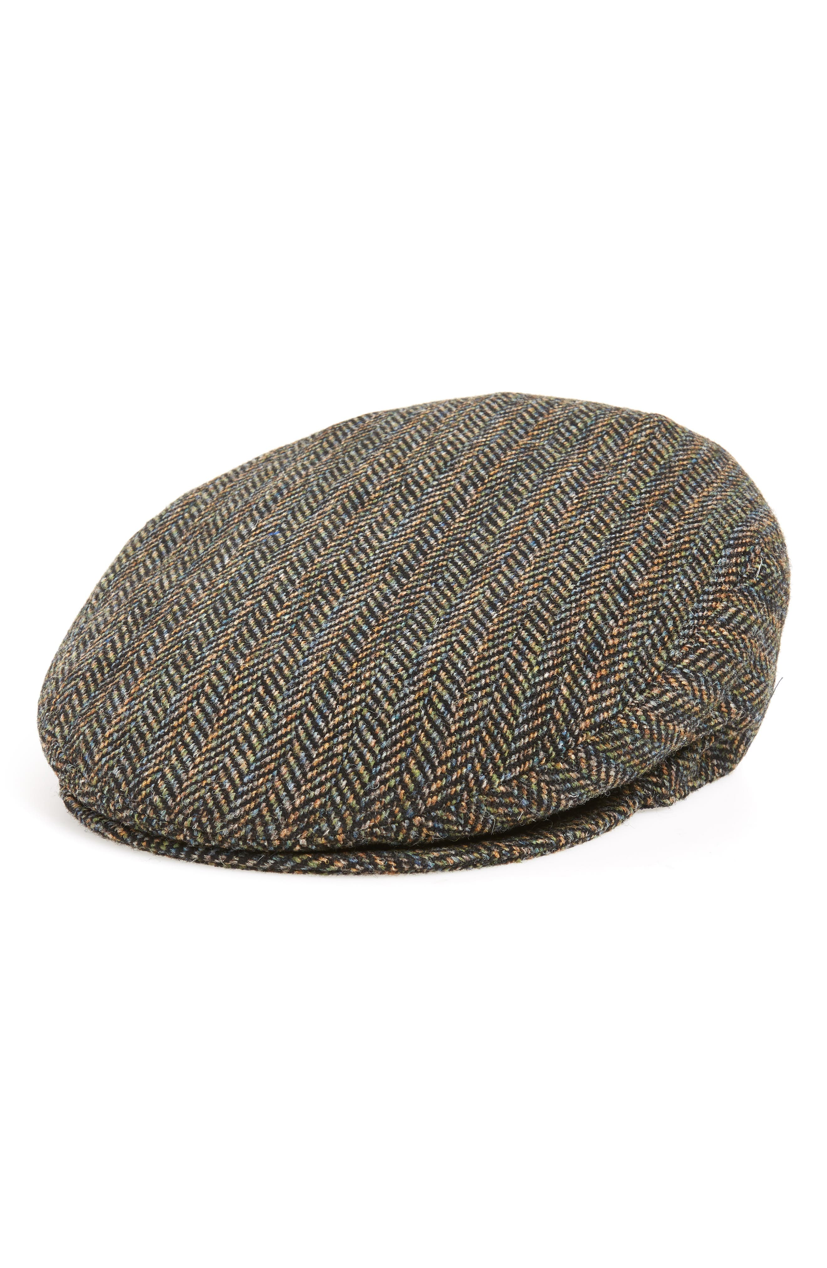 Lord Herringbone Wool Driving Cap,                         Main,                         color, BLACK MULTI