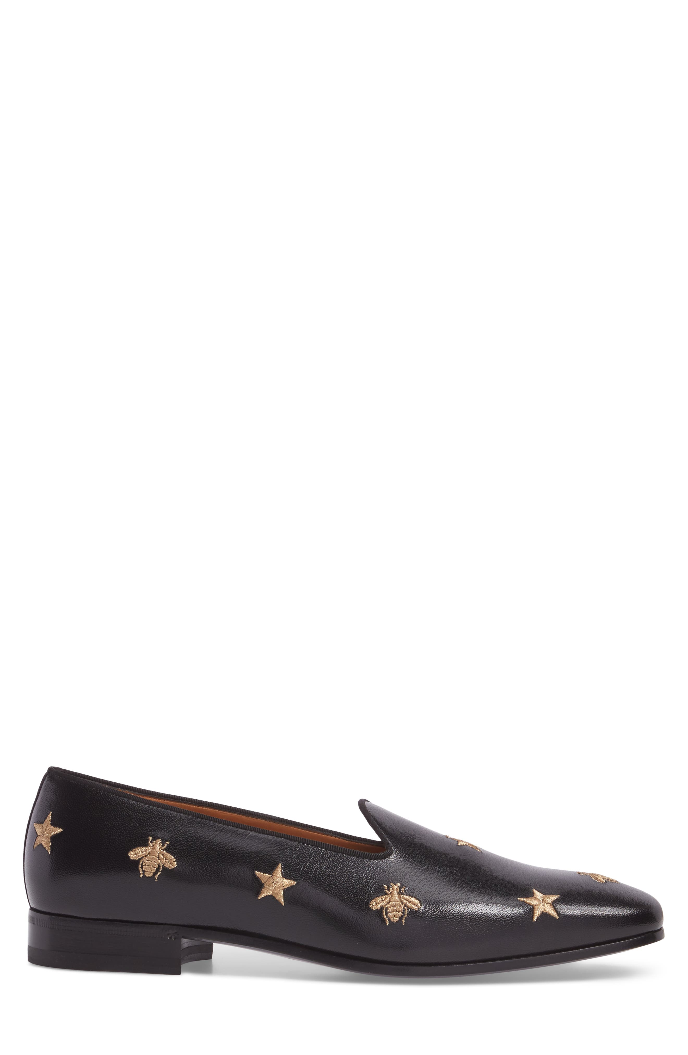 Embroidered Leather Loafer,                             Alternate thumbnail 3, color,                             001