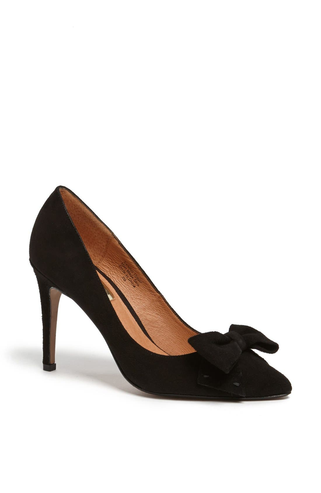 HALOGEN<SUP>®</SUP>,                             'Marla' Suede Bow Pointy Toe Pump,                             Main thumbnail 1, color,                             019