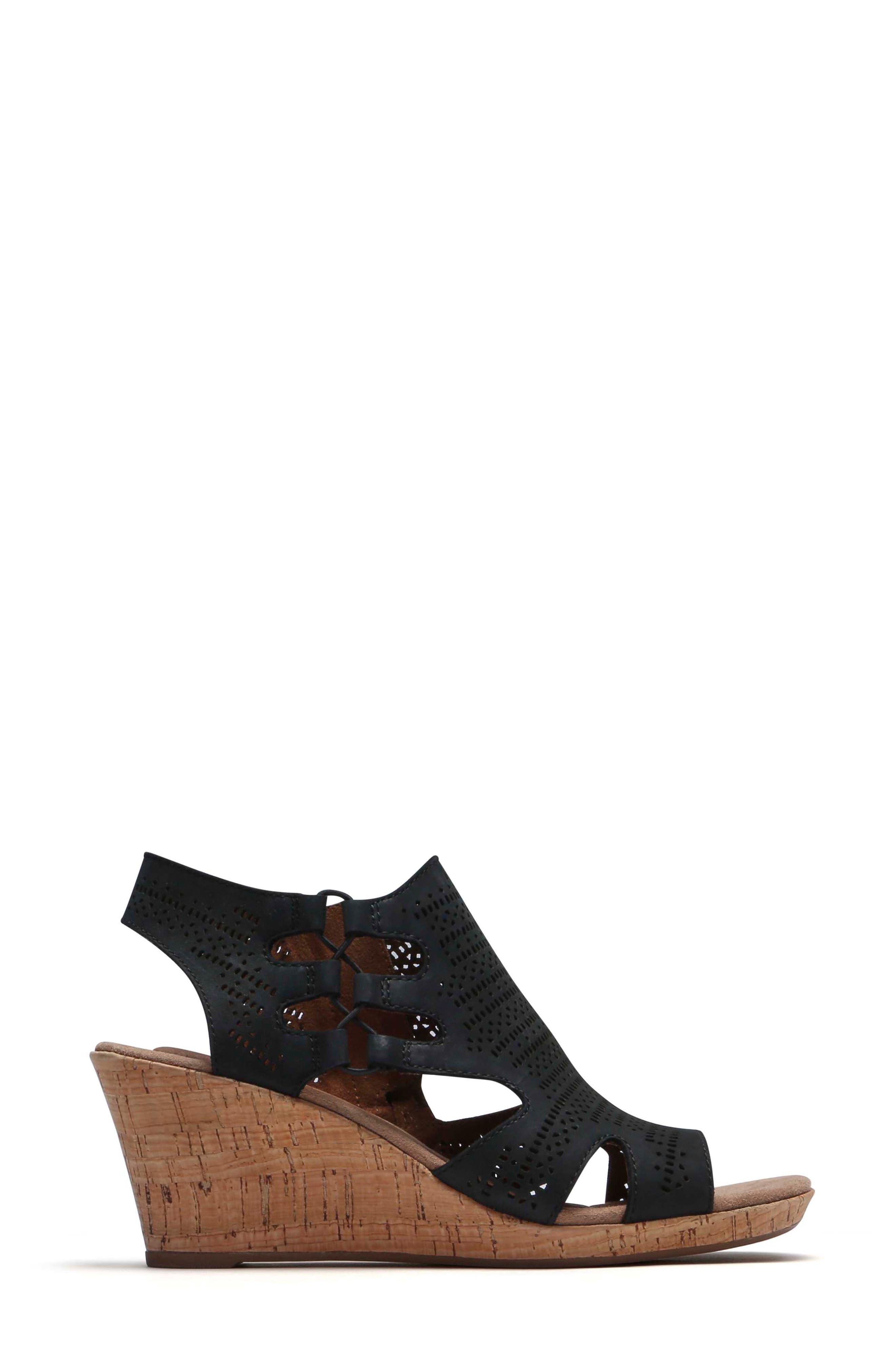 Janna Perforated Wedge Sandal,                             Alternate thumbnail 3, color,                             BLACK NUBUCK LEATHER
