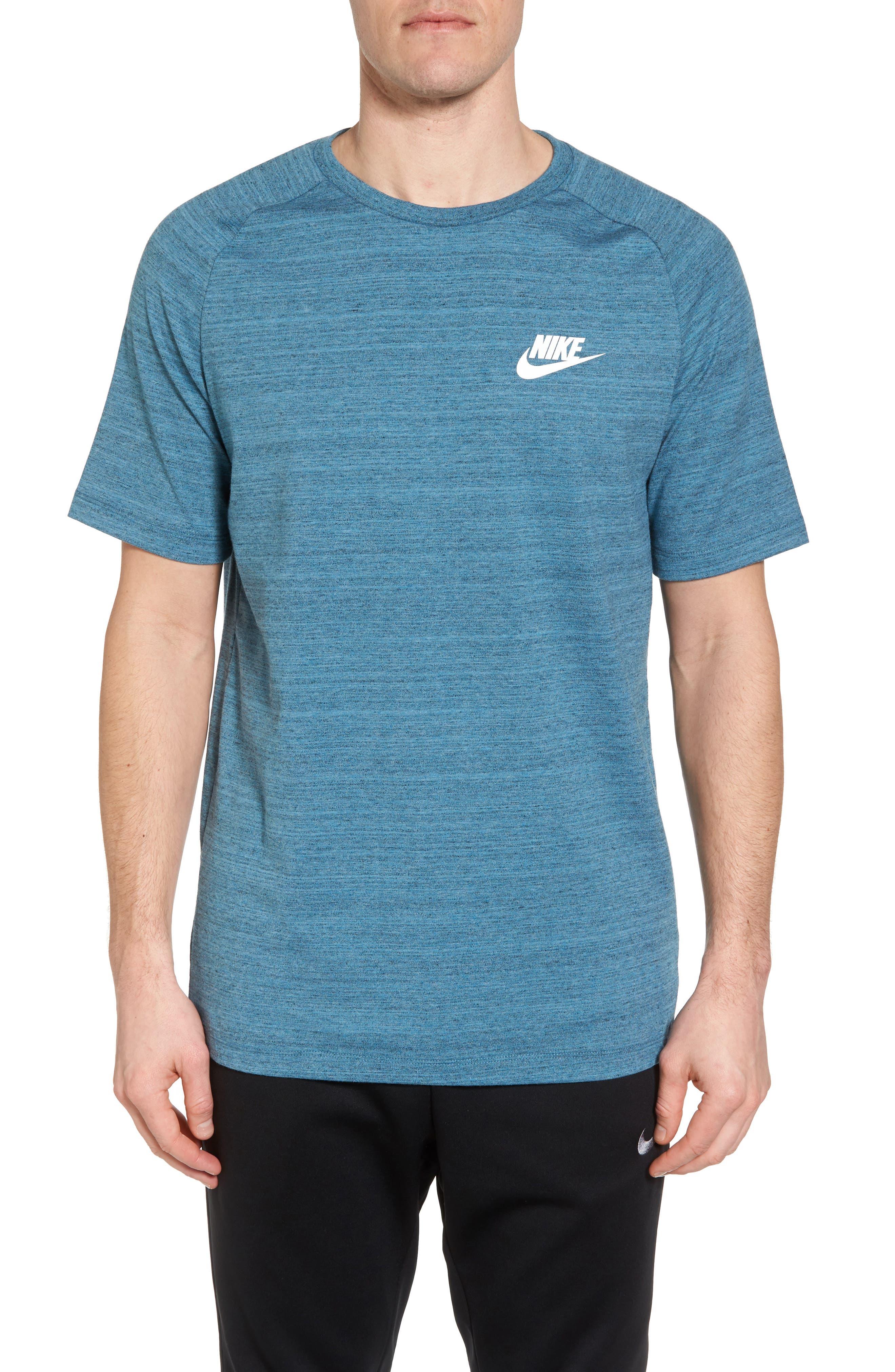 NSW AV15 Crewneck T-Shirt,                             Main thumbnail 1, color,                             NOISE AQUA/ HEATHER/ WHITE