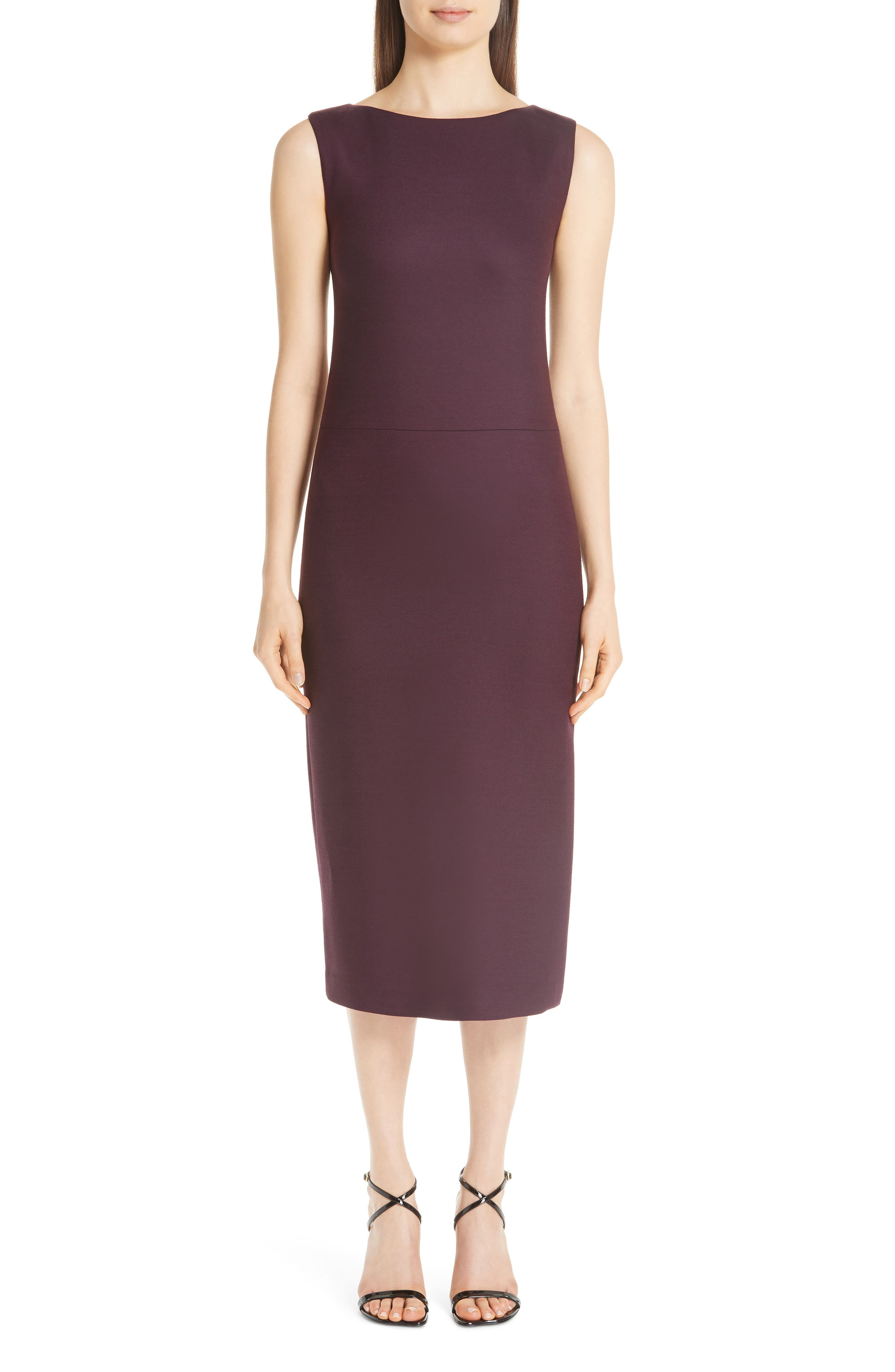 ADAM LIPPES,                             Double Face Wool Sheath Dress,                             Main thumbnail 1, color,                             BURGUNDY/ PINK