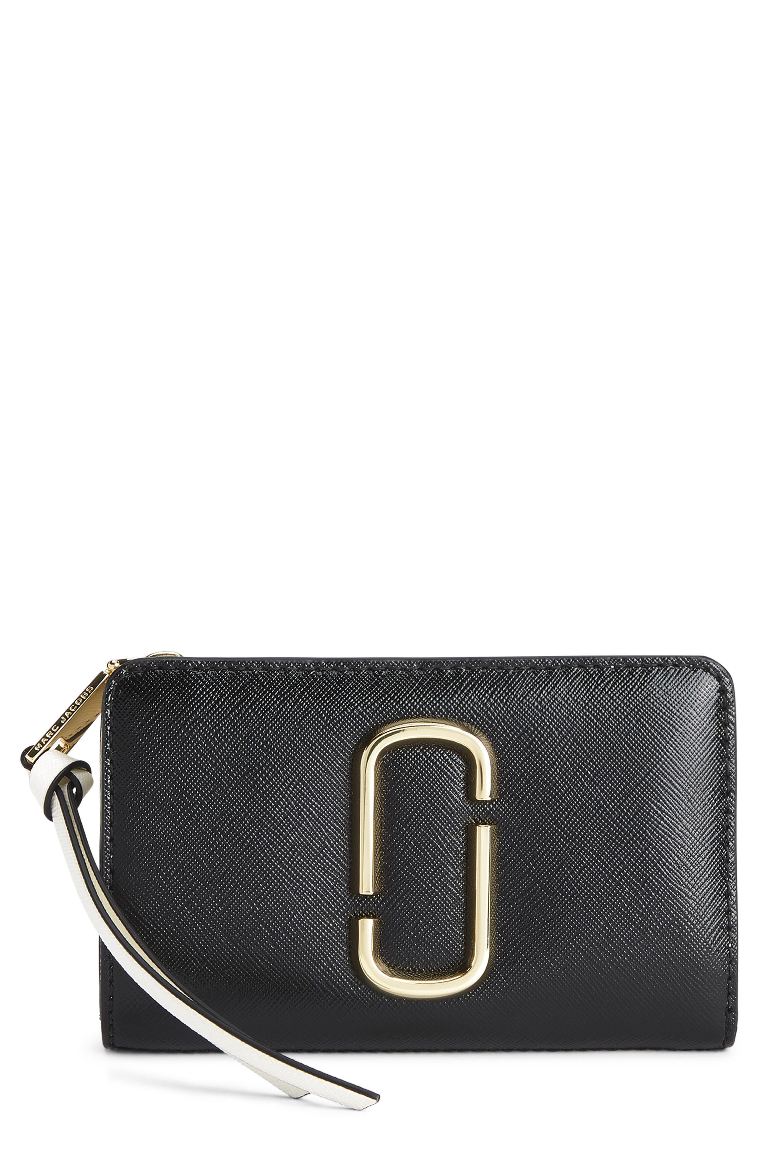 Snapshot Leather Compact Wallet,                             Main thumbnail 1, color,                             BLACK MULTI