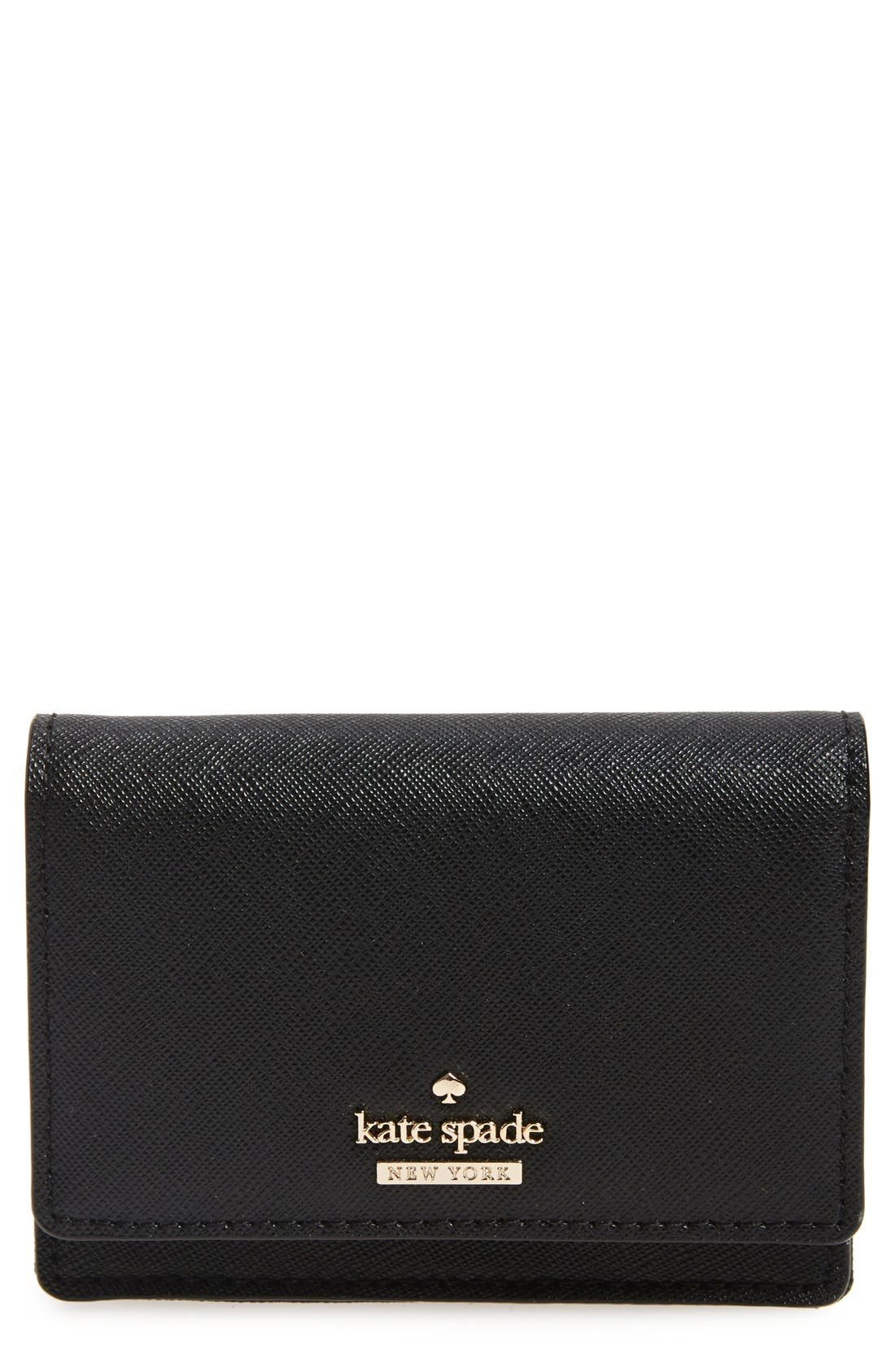 KATE SPADE NEW YORK 'cameron street - beca' textured leather wallet, Main, color, 001