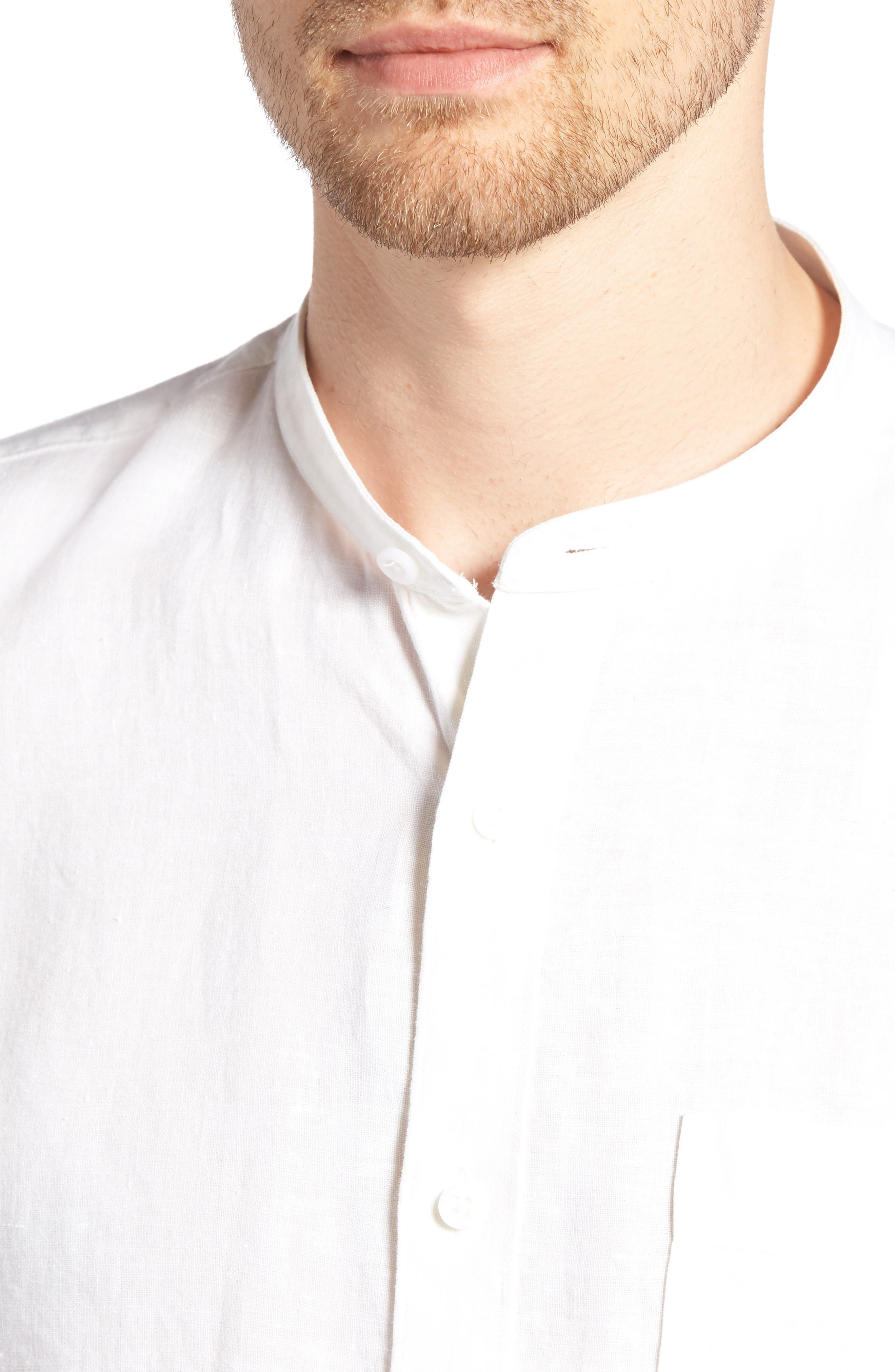 Band Collar Linen Sport Shirt,                             Alternate thumbnail 4, color,                             100