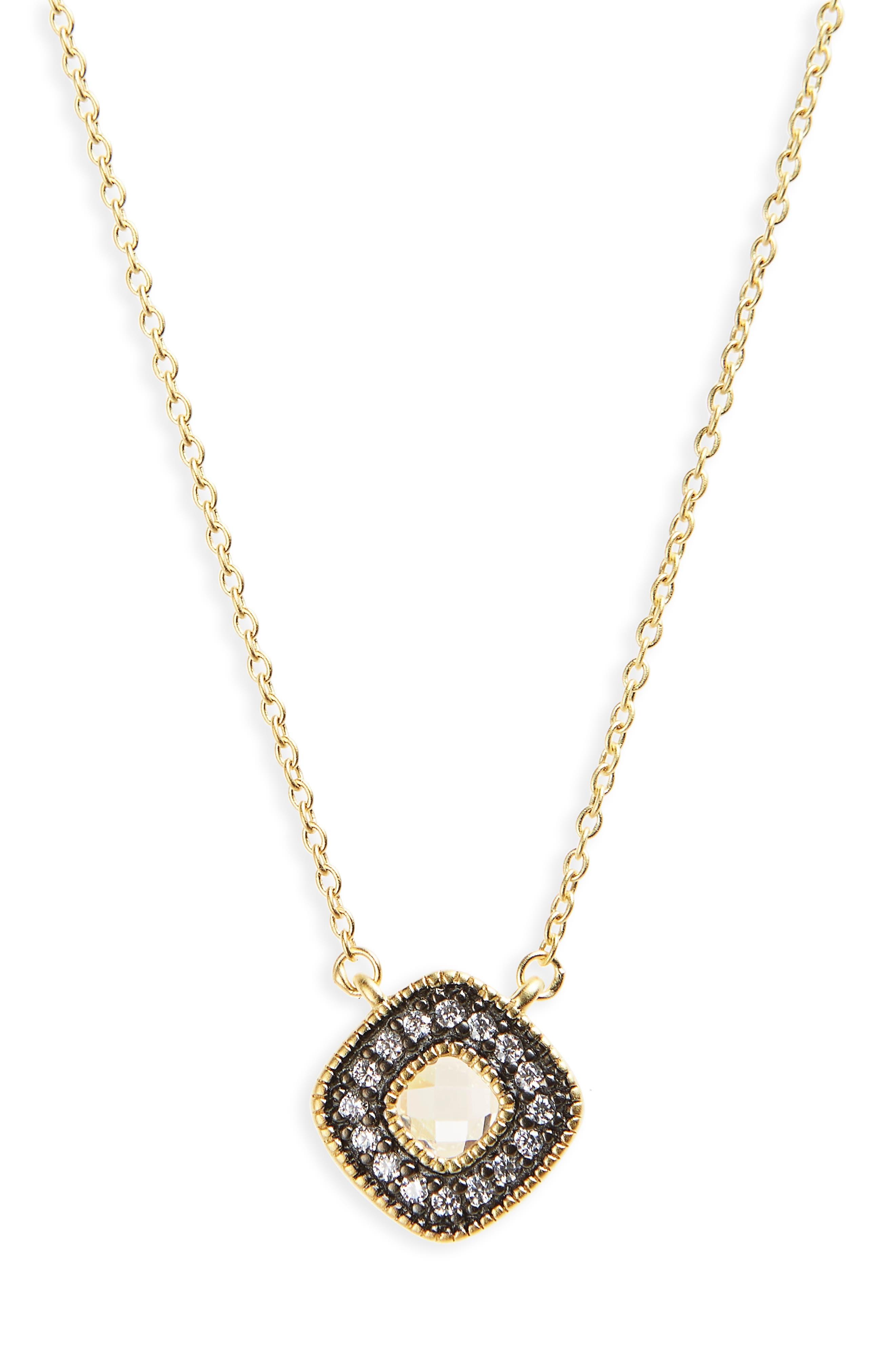 Single Stone Pendant Necklace,                         Main,                         color, GOLD/ BLACK
