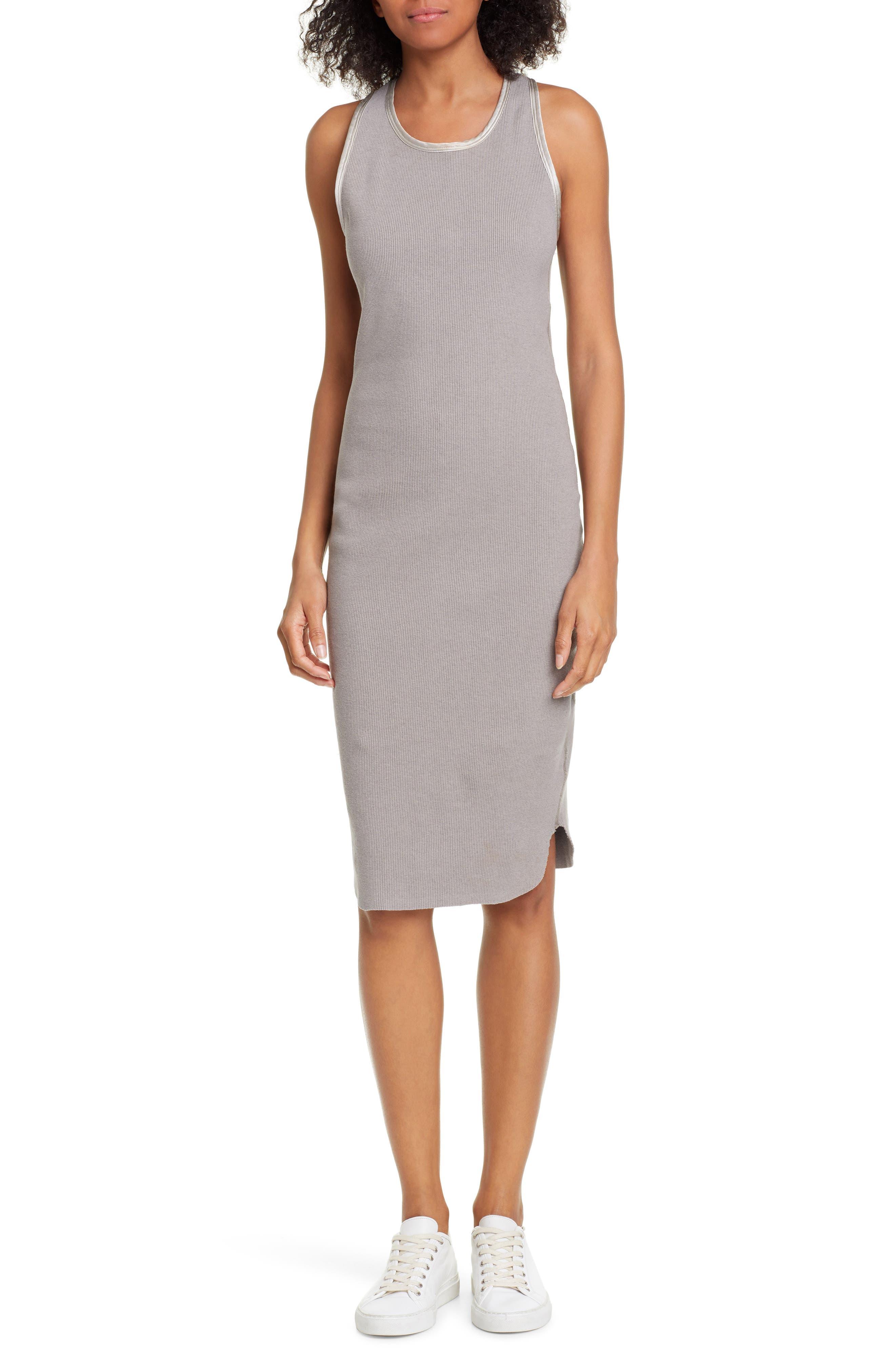 James Perse Satin Trim Rib Knit Tank Dress, Grey