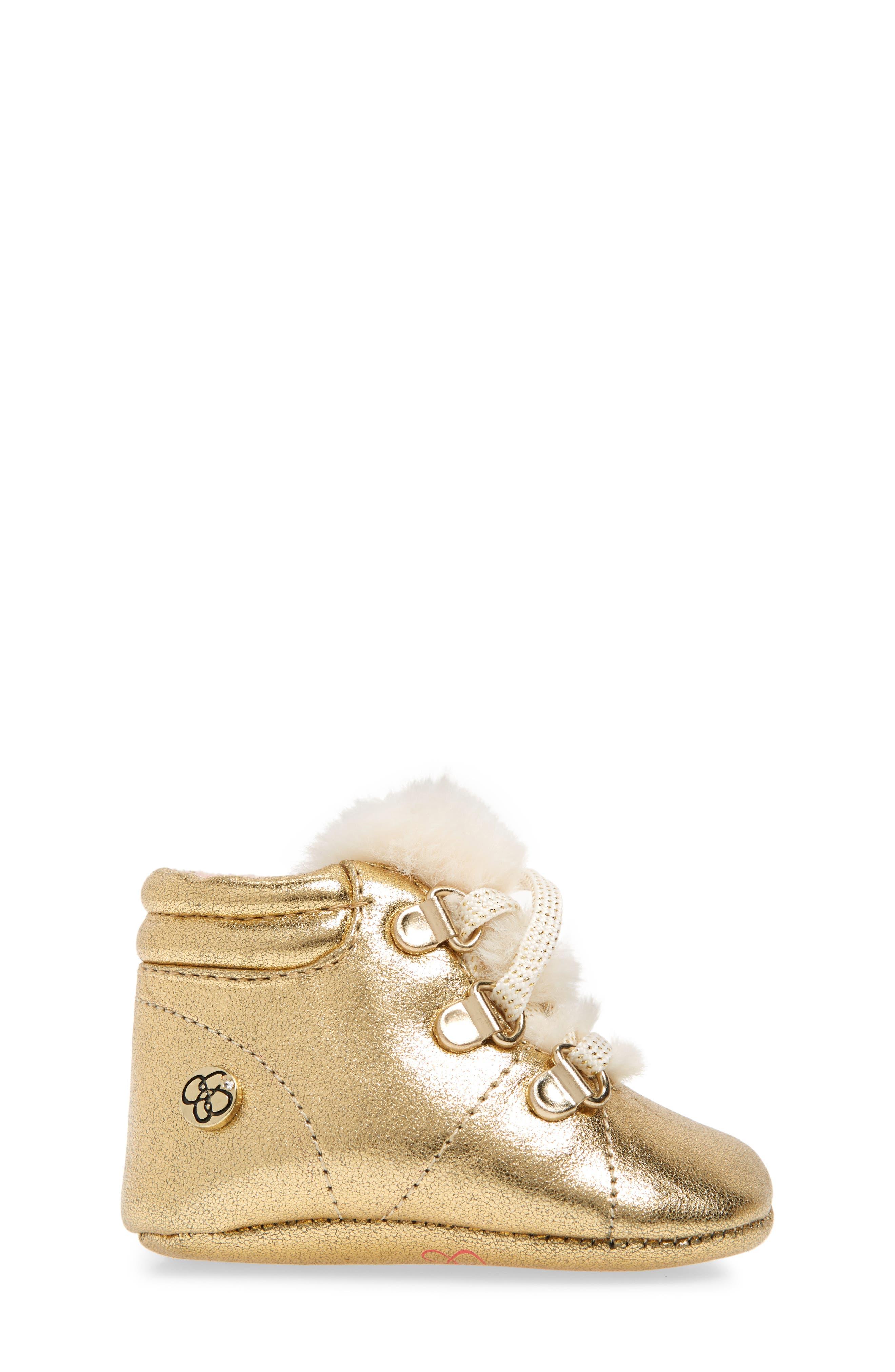 Faux Fur Metallic Crib Sneaker,                             Alternate thumbnail 3, color,                             GOLD CRACKLE METALLIC